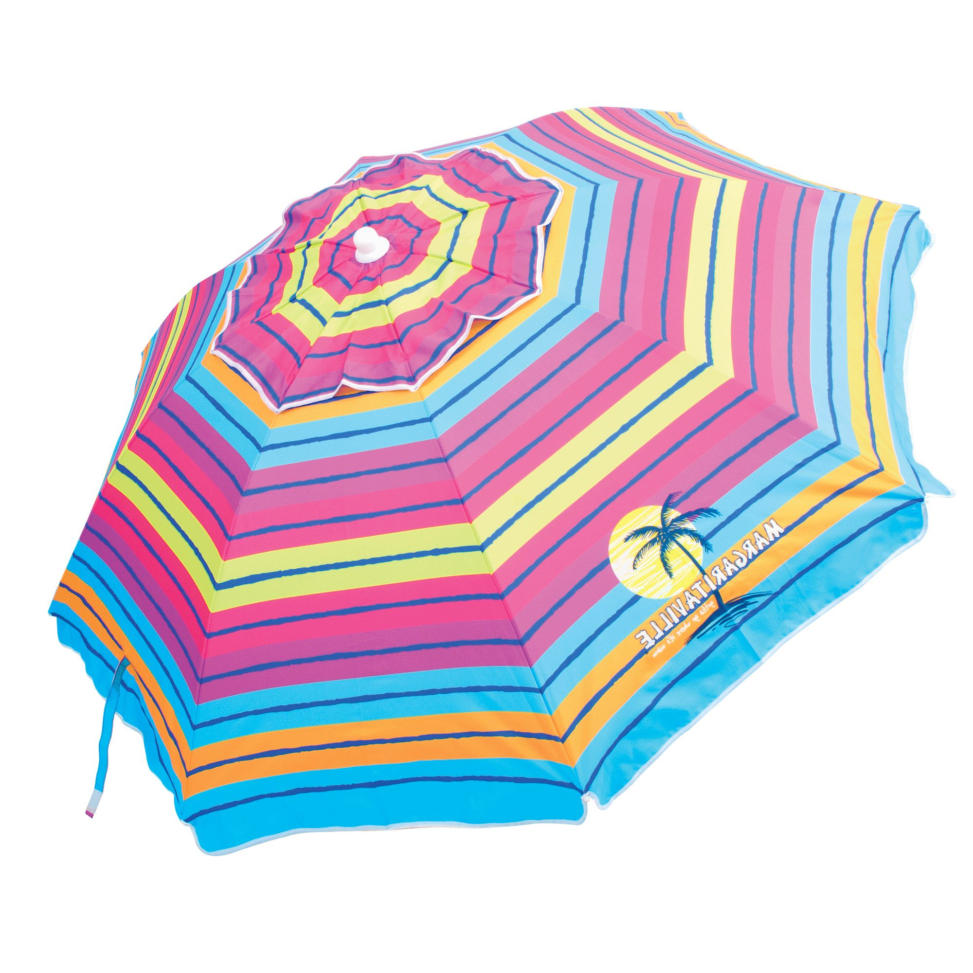 Margaritaville 6.5 Ft. Upf 50+ Sun Protection Tilt Umbrella With Sand Anchor With Regard To Widely Used Margaritaville Green And Blue Striped Beach With Built In Sand Anchor Umbrellas (Gallery 19 of 20)