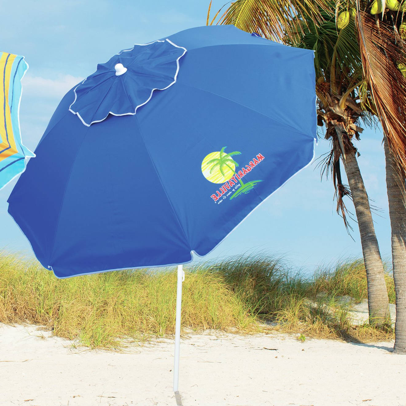 Margaritaville Green And Blue Striped Beach With Built In Sand Anchor Umbrellas Regarding Latest 6.5' Beach Umbrella (Gallery 5 of 20)