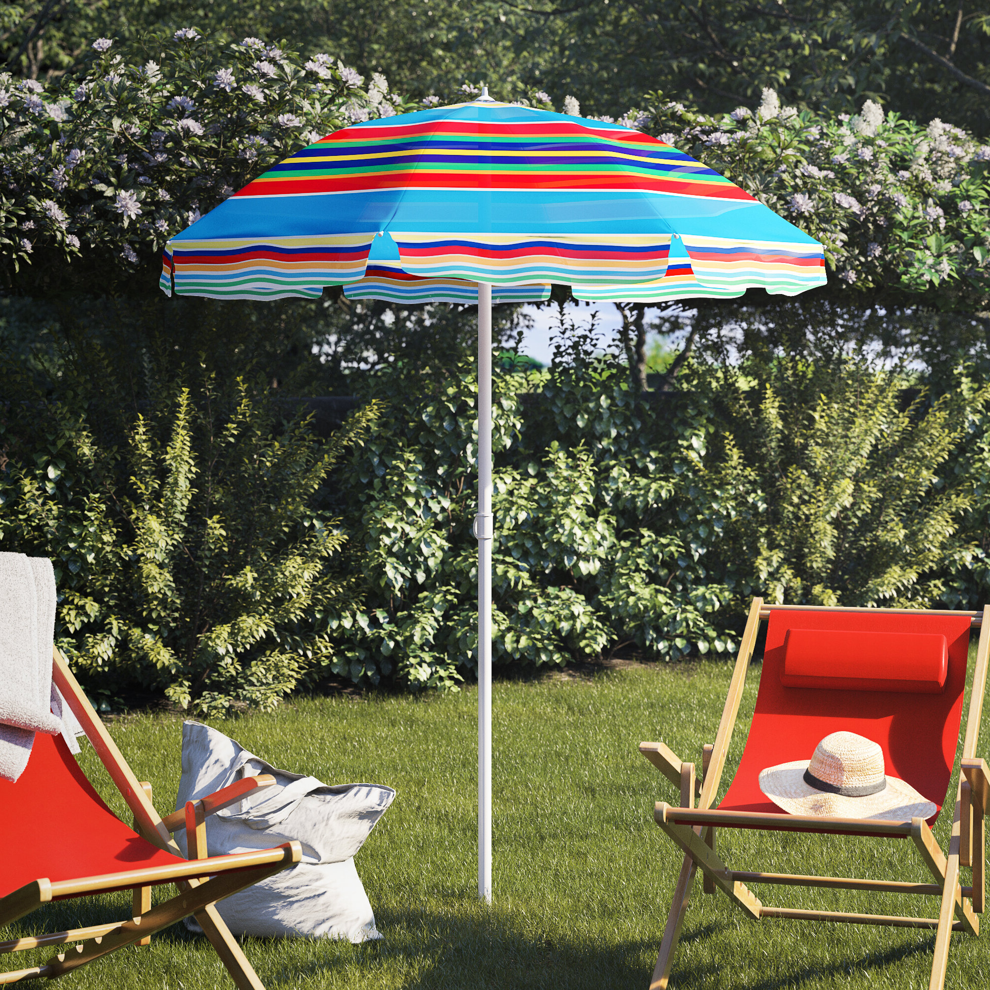 Margaritaville Green And Blue Striped Beach With Built In Sand Anchor Umbrellas With Regard To Favorite Auriville 5' Beach Umbrella (View 11 of 20)