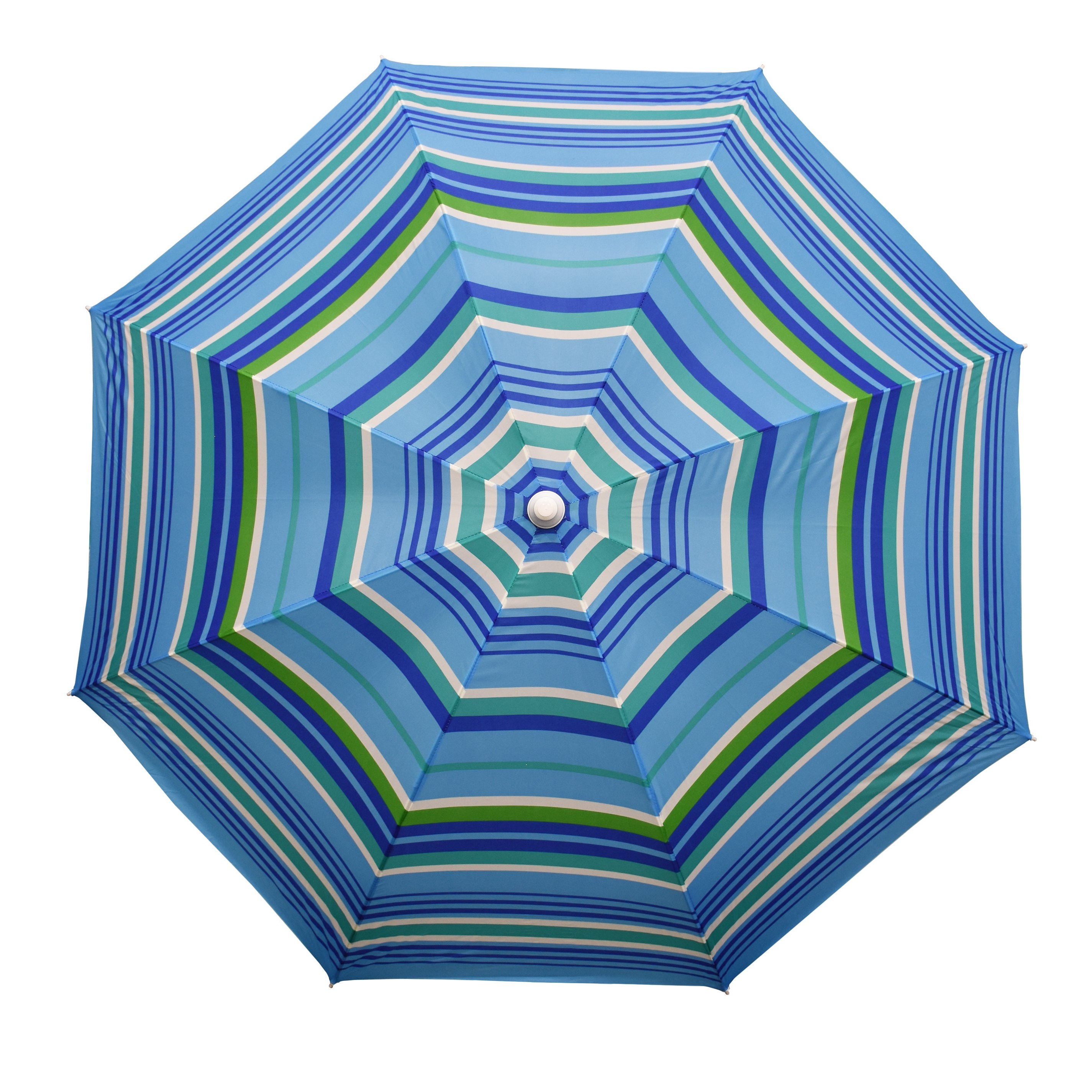 Margaritaville Green And Blue Striped Beach With Built In Sand Anchor Umbrellas Within Fashionable Astella 6' Round Beach Umbrella (Gallery 18 of 20)