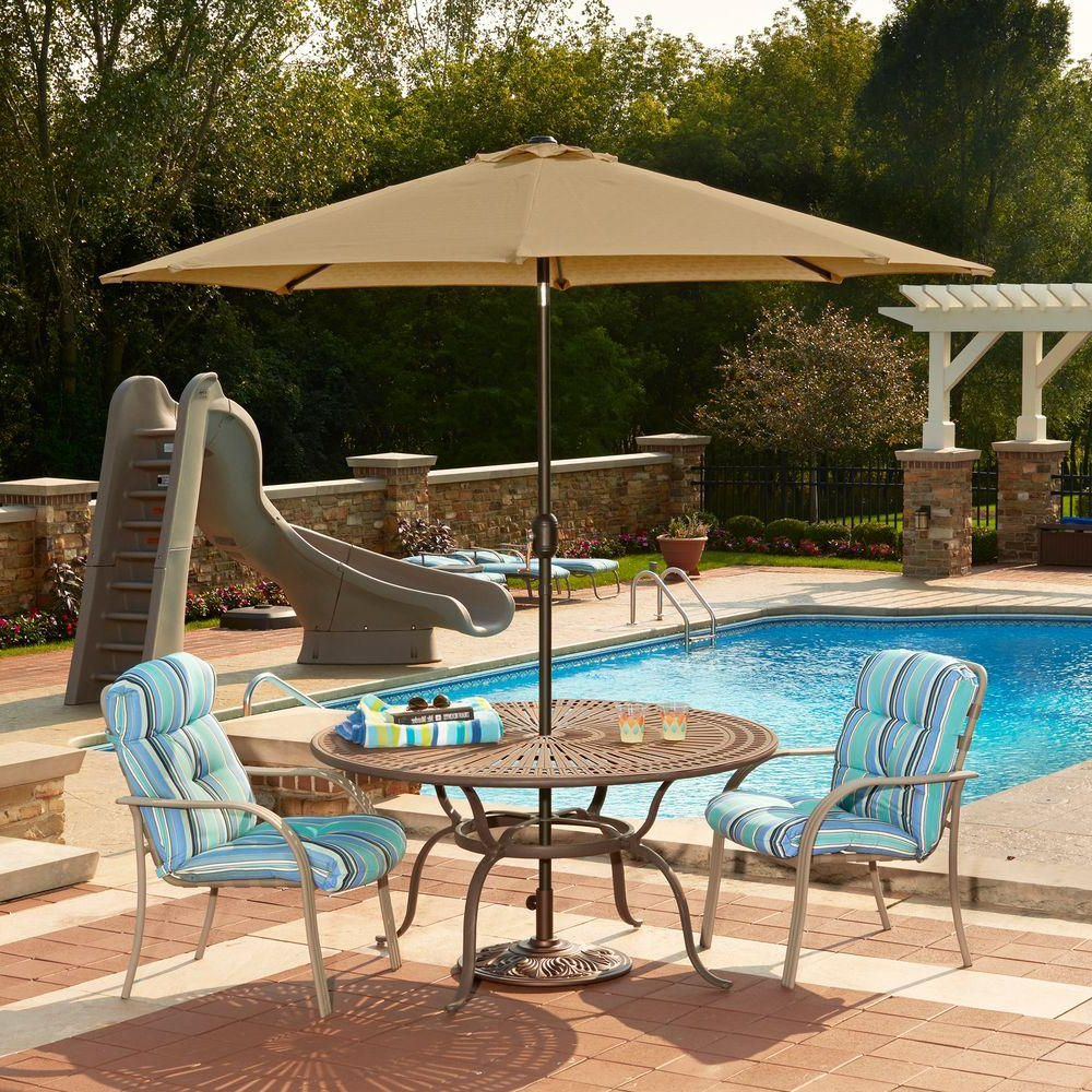 Market Umbrellas – Patio Umbrellas – The Home Depot Regarding Famous Iyanna Cantilever Umbrellas (View 9 of 20)
