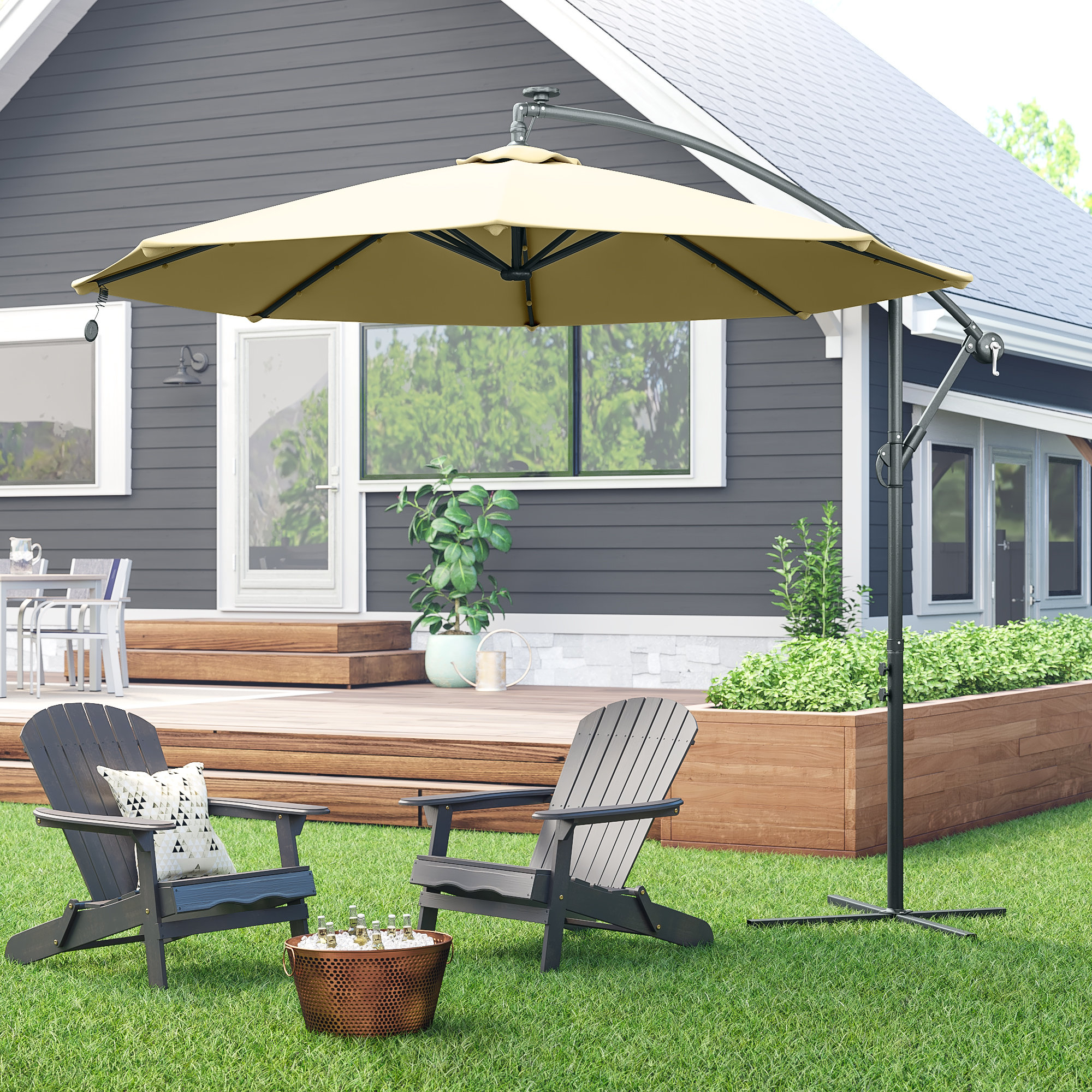 Monty Half Market Umbrellas Within Well Known Modern & Contemporary Umbrella Replacement Canopy (View 13 of 20)