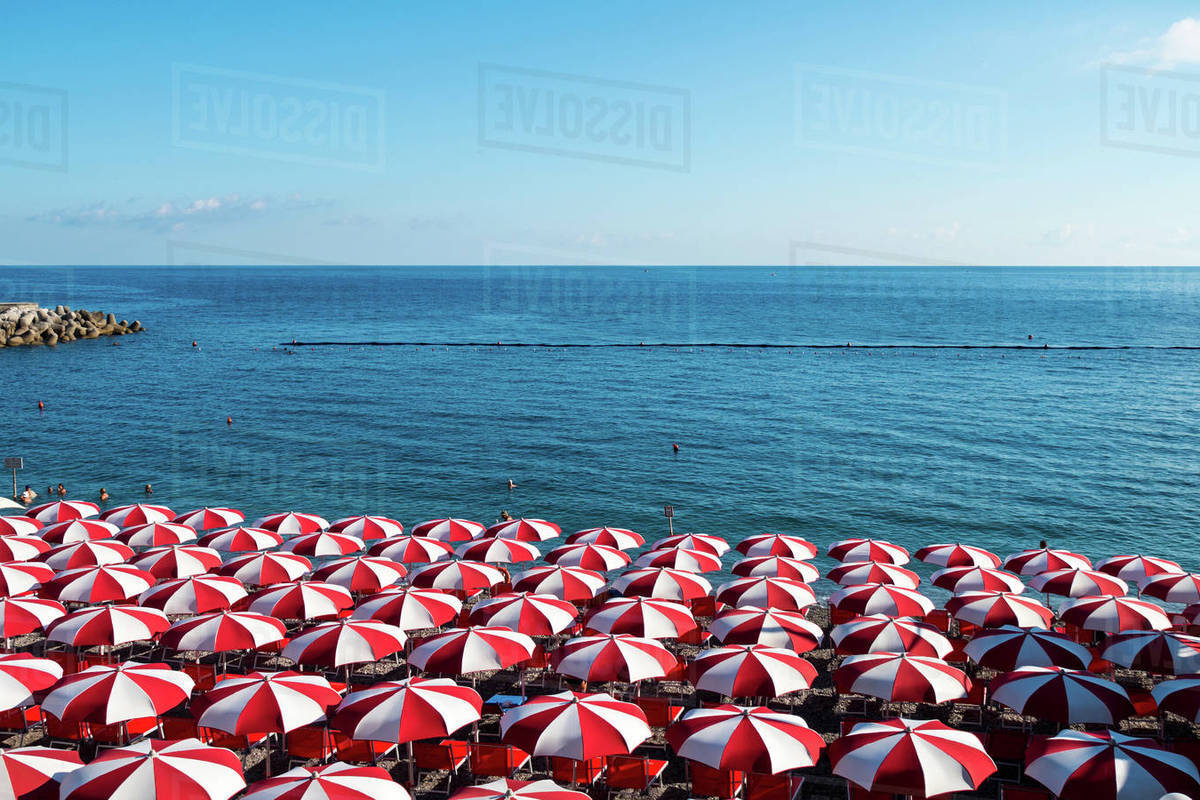 Most Current Beach Umbrellas Pertaining To Beach Umbrellas, Amalfi Coast, Italy Stock Photo (View 9 of 20)