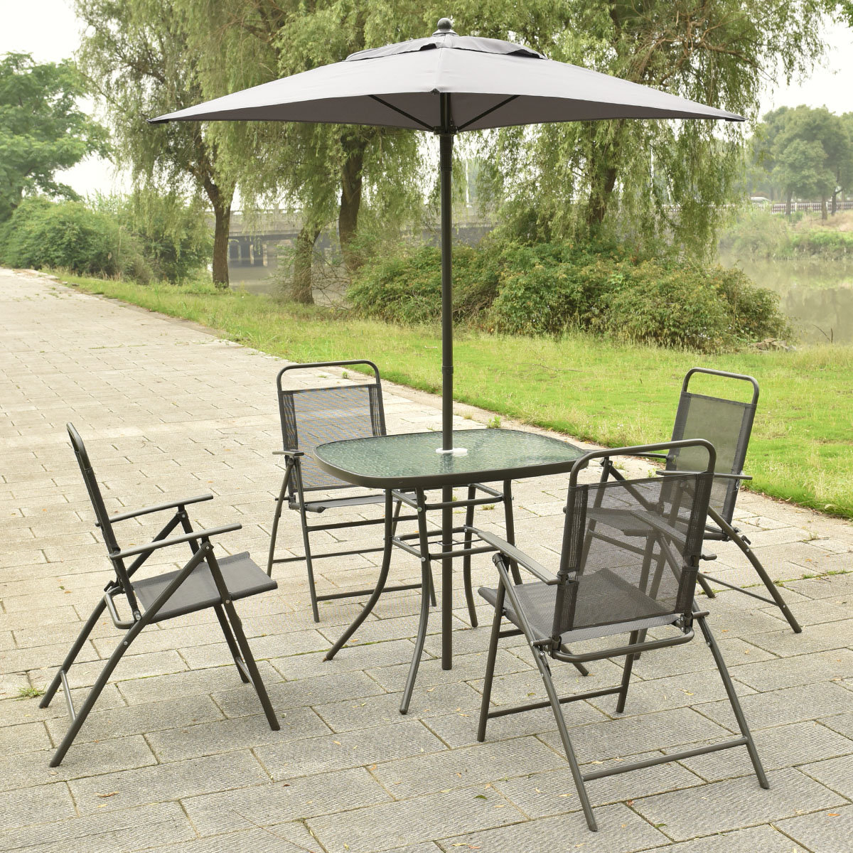 Most Current Cannock Market Umbrellas With Regard To Details About Ebern Designs Cannock 6 Piece Dining Set With Umbrella (View 5 of 20)