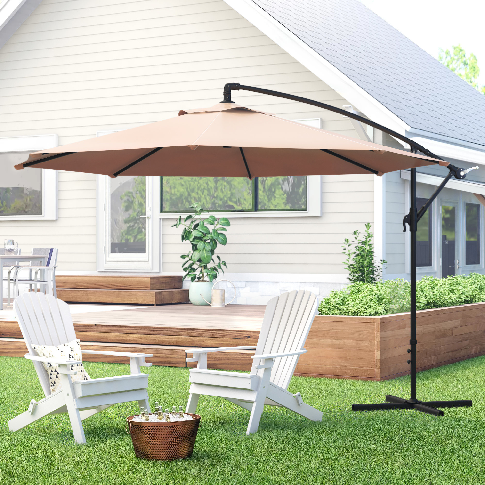 Most Current Driskill Hanging Patio 10' Cantilever Umbrella Within Tallulah Sunshade Hanging Outdoor Cantilever Umbrellas (Gallery 9 of 20)