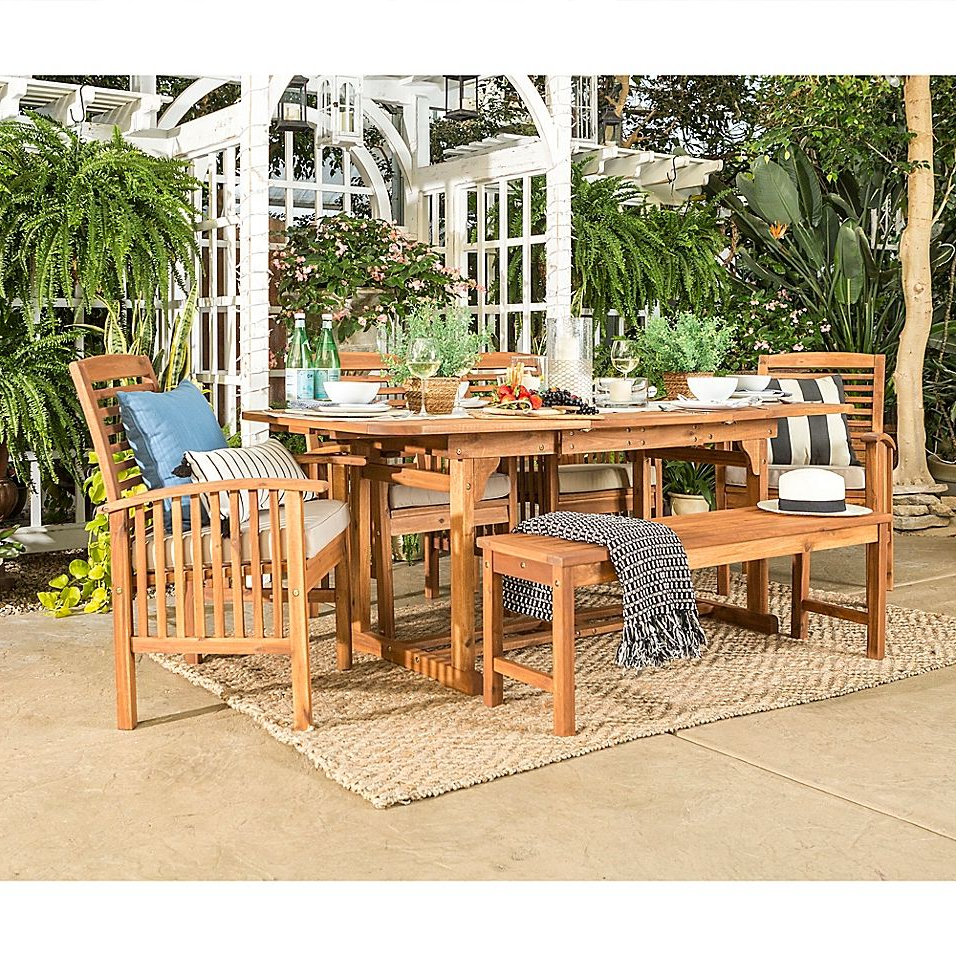 Most Current Forest Gate Eagleton Pation 6 Piece Light Acacia Wood Dining Set Within Elaina Cantilever Umbrellas (View 12 of 20)