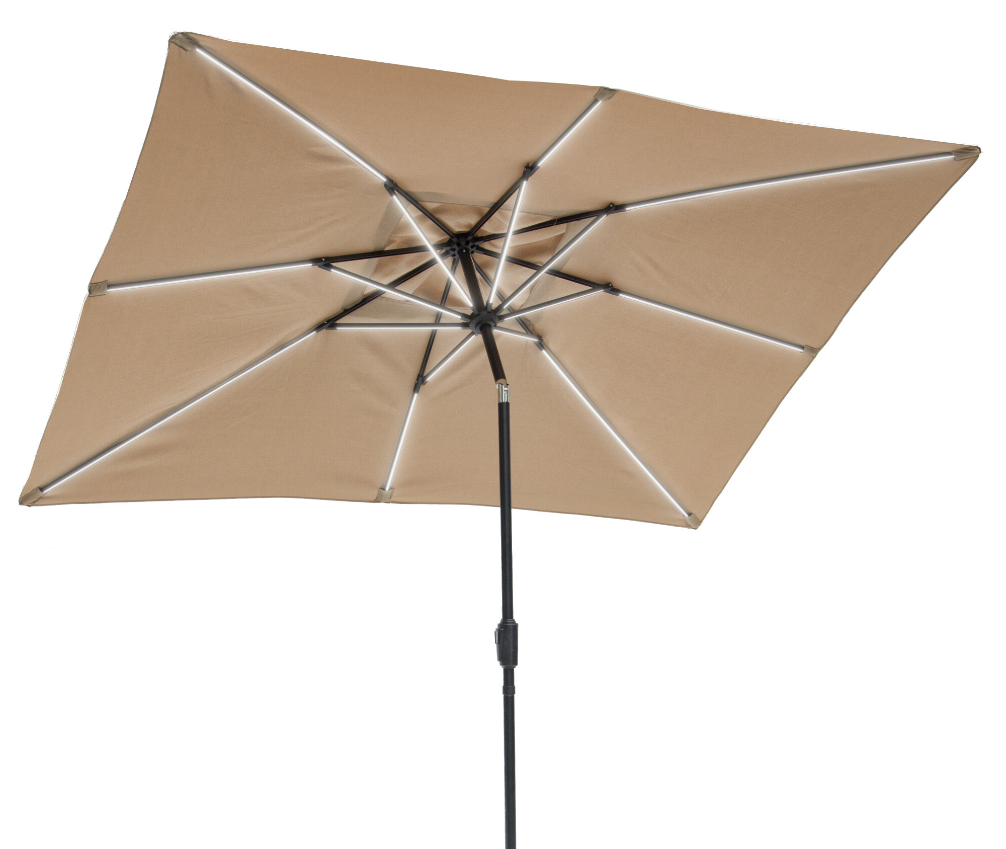 Most Current Gries Rectangular Market Umbrellas Inside Harriette Solar Lighted 9' X 7' Rectangular Market Umbrella (Gallery 9 of 20)