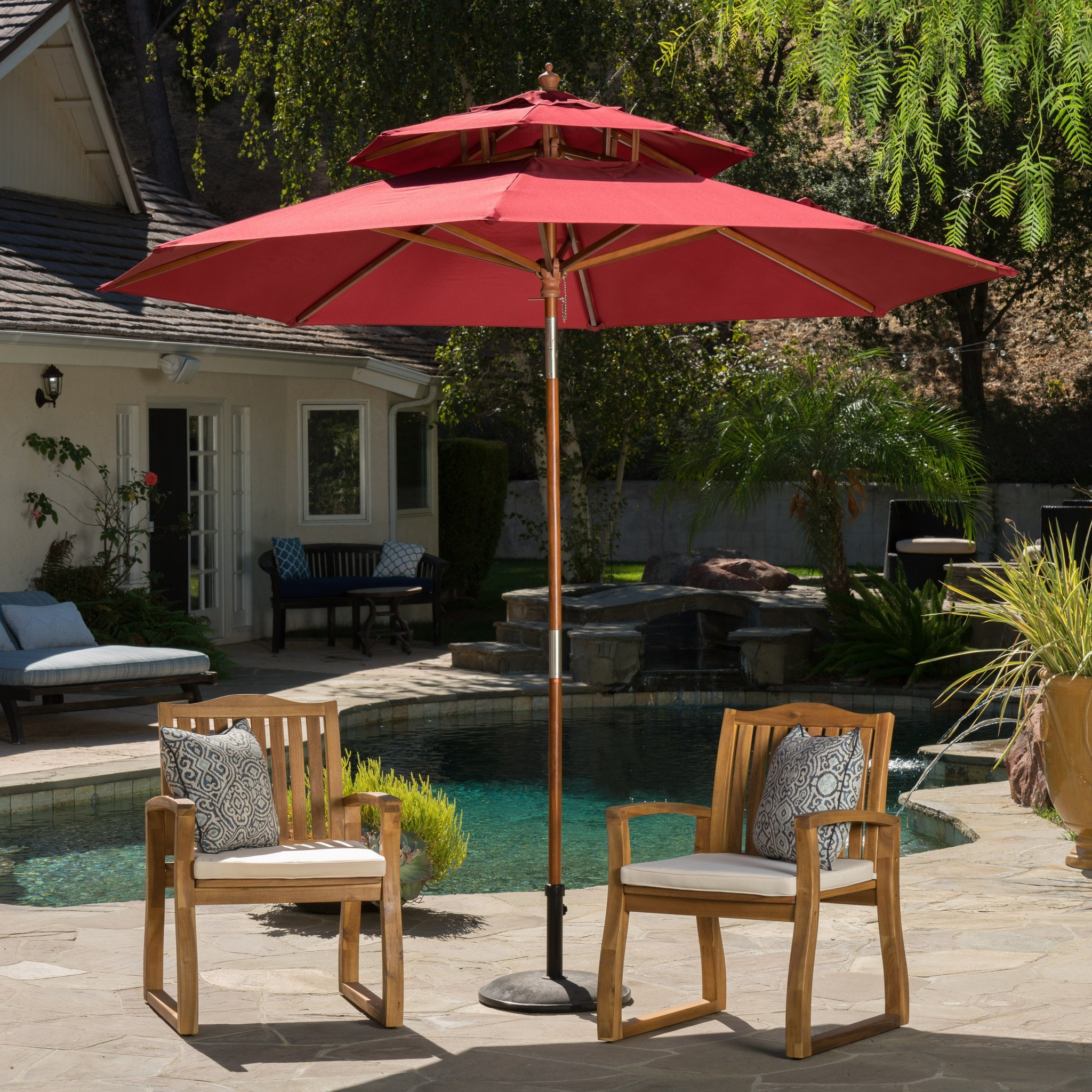 Most Current Jacob Outdoor 8.75 Foot Burgundy Tilt Canopy Umbrella Pertaining To Lennie Cantilever Sunbrella Umbrellas (Gallery 13 of 20)