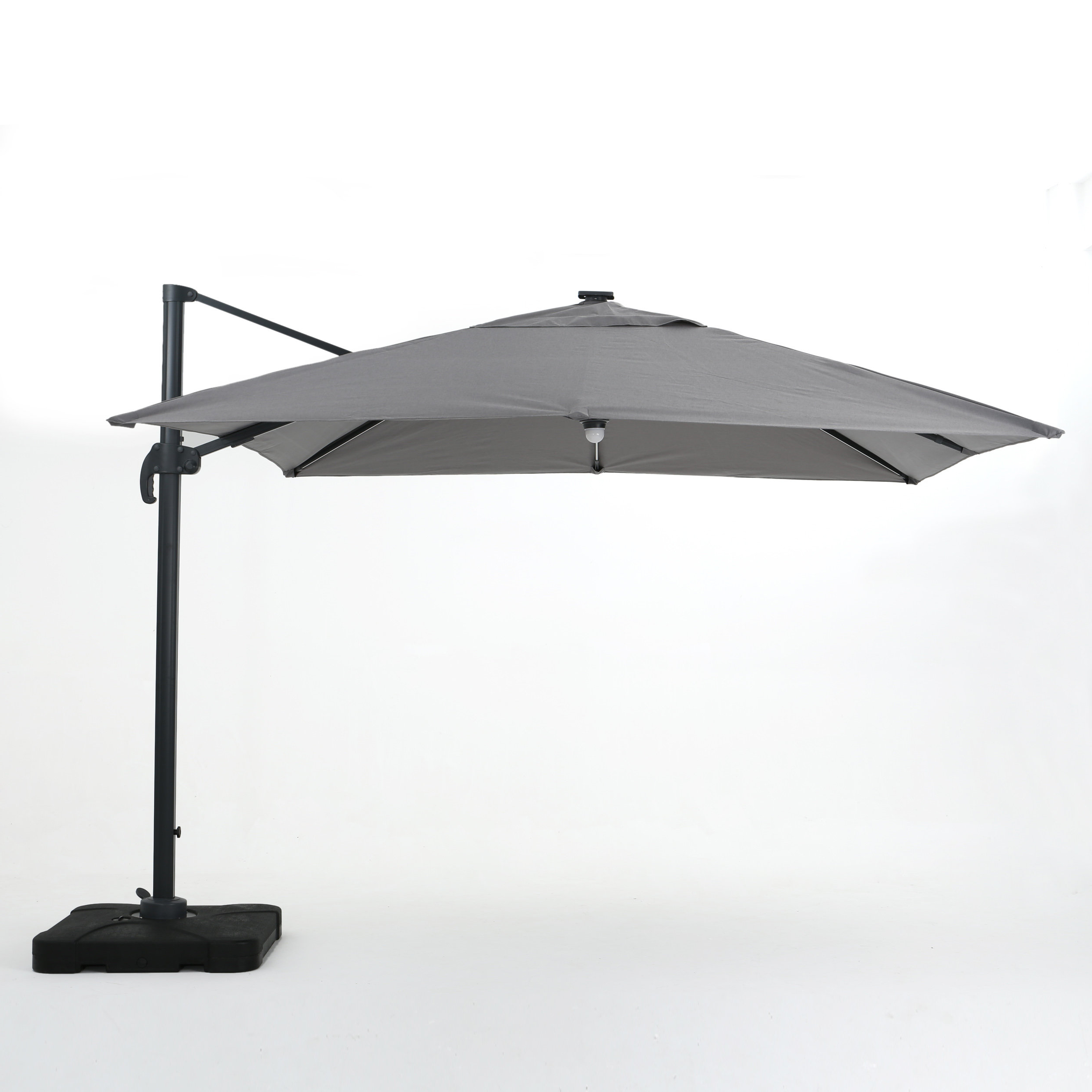 Most Current Jendayi Square Cantilever Umbrella Throughout Sun Ray Solar Cantilever Umbrellas (Gallery 15 of 20)
