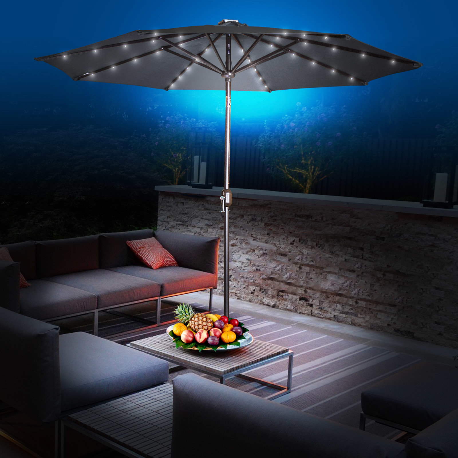 Most Popular Abia 9' Lighted Umbrella In Herlinda Solar Lighted Market Umbrellas (View 15 of 20)