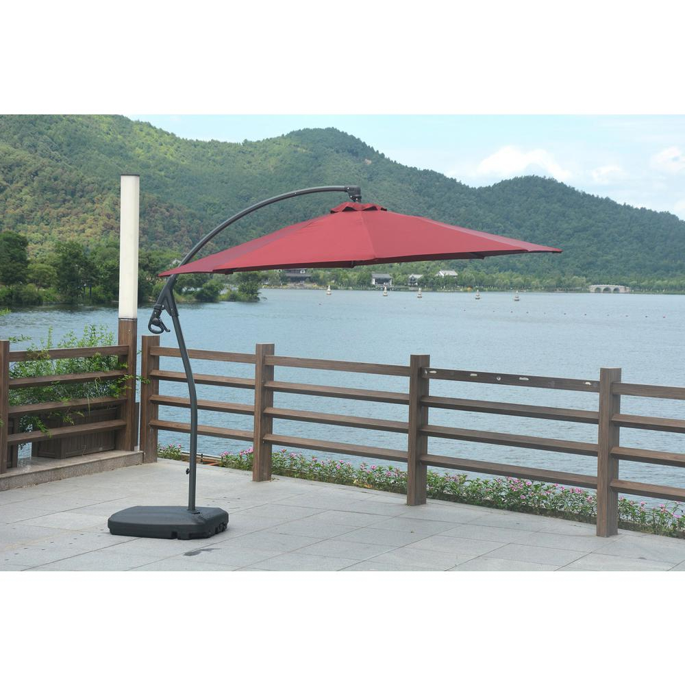 Most Popular Direct Wicker Lucy 10 Ft. Coated Steel Cantilever Tilt Patio Umbrella In Red Pertaining To Pau Rectangular Market Umbrellas (Gallery 10 of 20)
