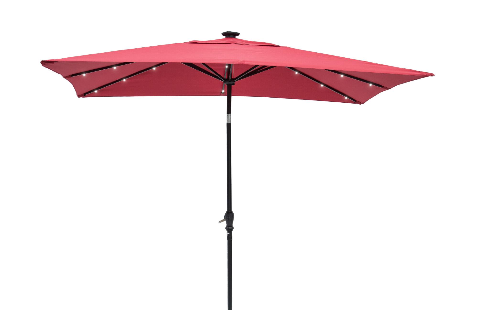 Most Popular Griselda Solar Lighted  Rectangular Market Umbrellas Intended For Griselda Solar Lighted 9' X 7' Rectangular Market Umbrella (Gallery 1 of 20)