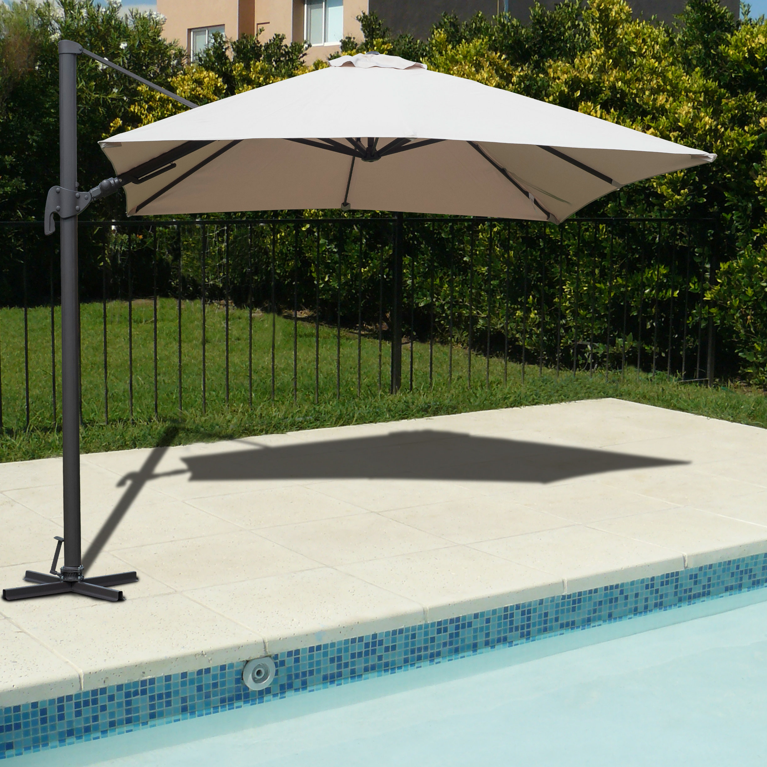 Most Popular Ryant Cantilever Umbrellas Throughout Grote Liberty Aluminum Square Cantilever Umbrella (View 17 of 20)