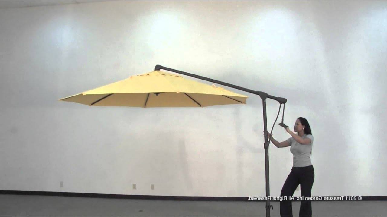 Most Popular Side Mount Cantilever Outdoor Umbrella – Youtube In Karr Cantilever Umbrellas (View 11 of 20)