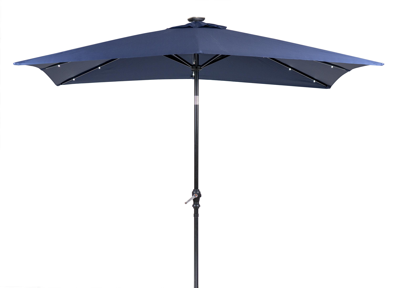 Most Popular Sun Ray Solar 7' X 9' Rectangular Market Umbrella Throughout Sun Ray Solar Cantilever Umbrellas (View 3 of 20)