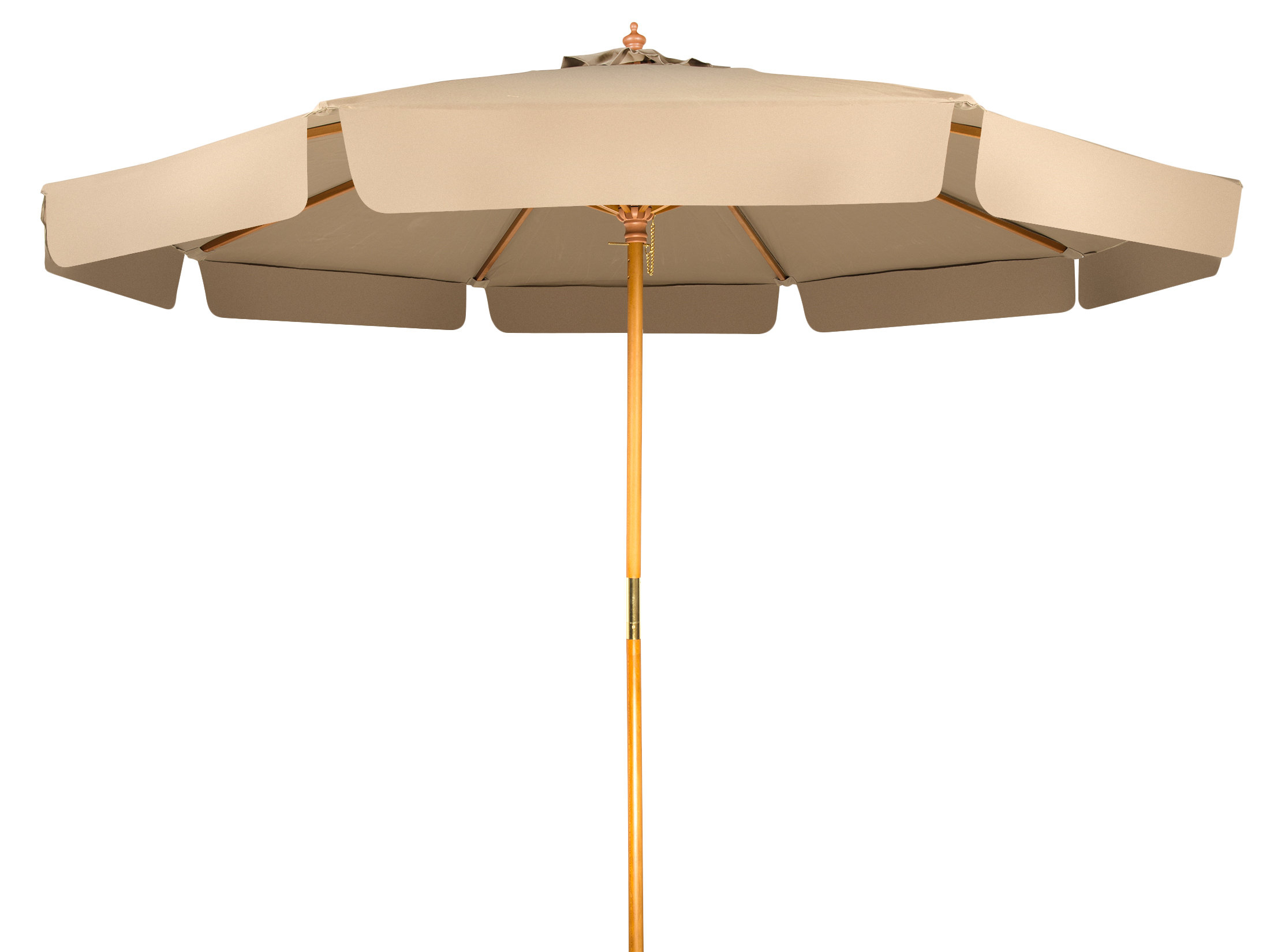 Most Recent Bricelyn Market Umbrellas With Regard To Grund Patio Wood Frame With Scalloped Edge 9' Market Umbrella (View 10 of 20)