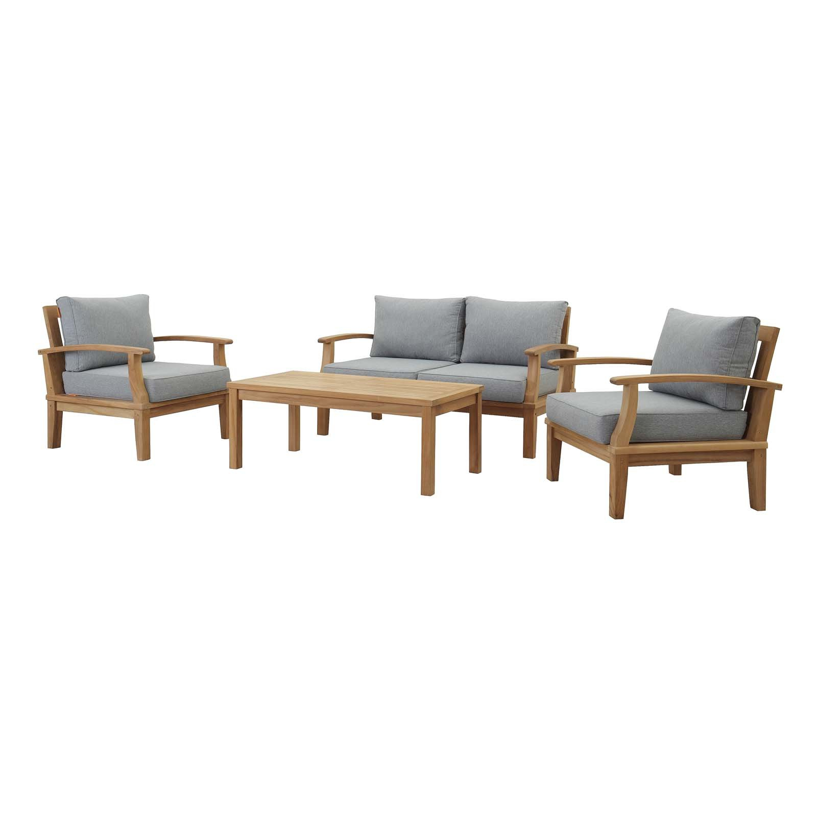 Most Recent Elaina Cantilever Umbrellas Throughout Elaina 4 Piece Teak Sofa Seating Group With Cushions (View 15 of 20)