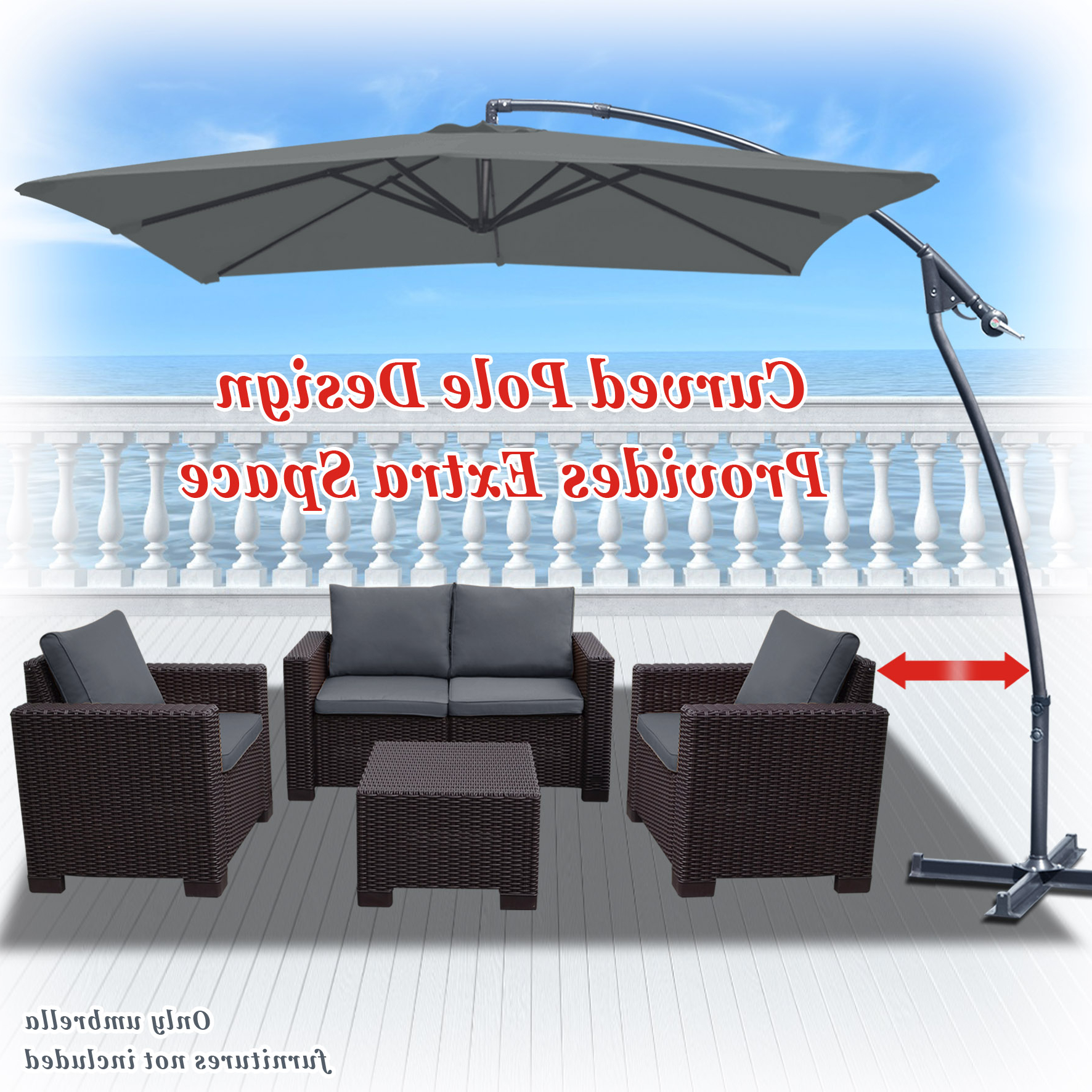 Most Recent Justis Cantilever Umbrellas For Strong Camel 8' X 8' Cantilever Hanging Umbrella Offset Patio Umbrella Garden Outdoor Sunshade Market 360 Degree Rotational Function In Grey Color (View 6 of 20)