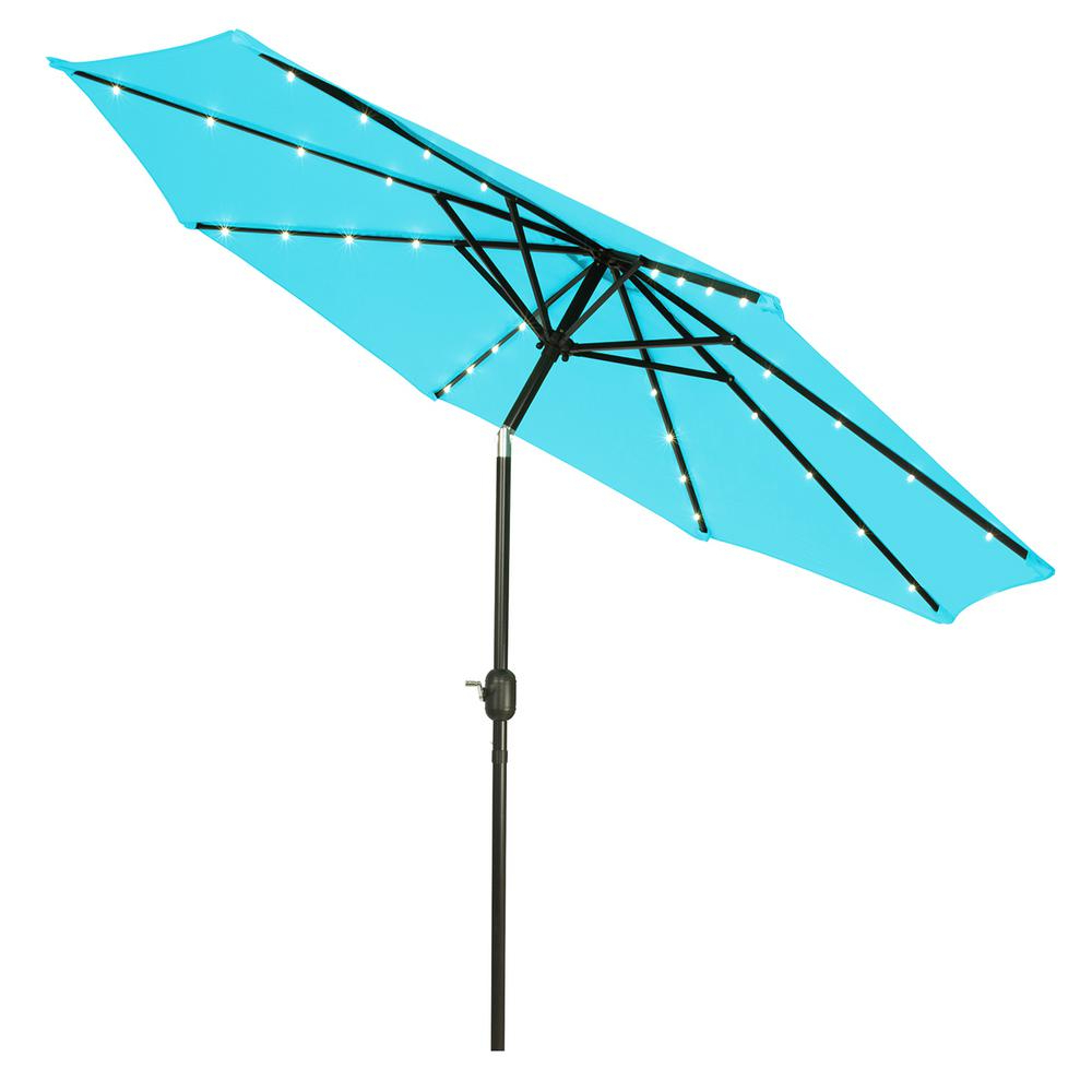 Most Recent Trademark Innovations 9 Ft. Deluxe Solar Powered Led Lighted Patio Umbrella  In Teal For Solar Powered Led Patio Umbrellas (Gallery 4 of 20)