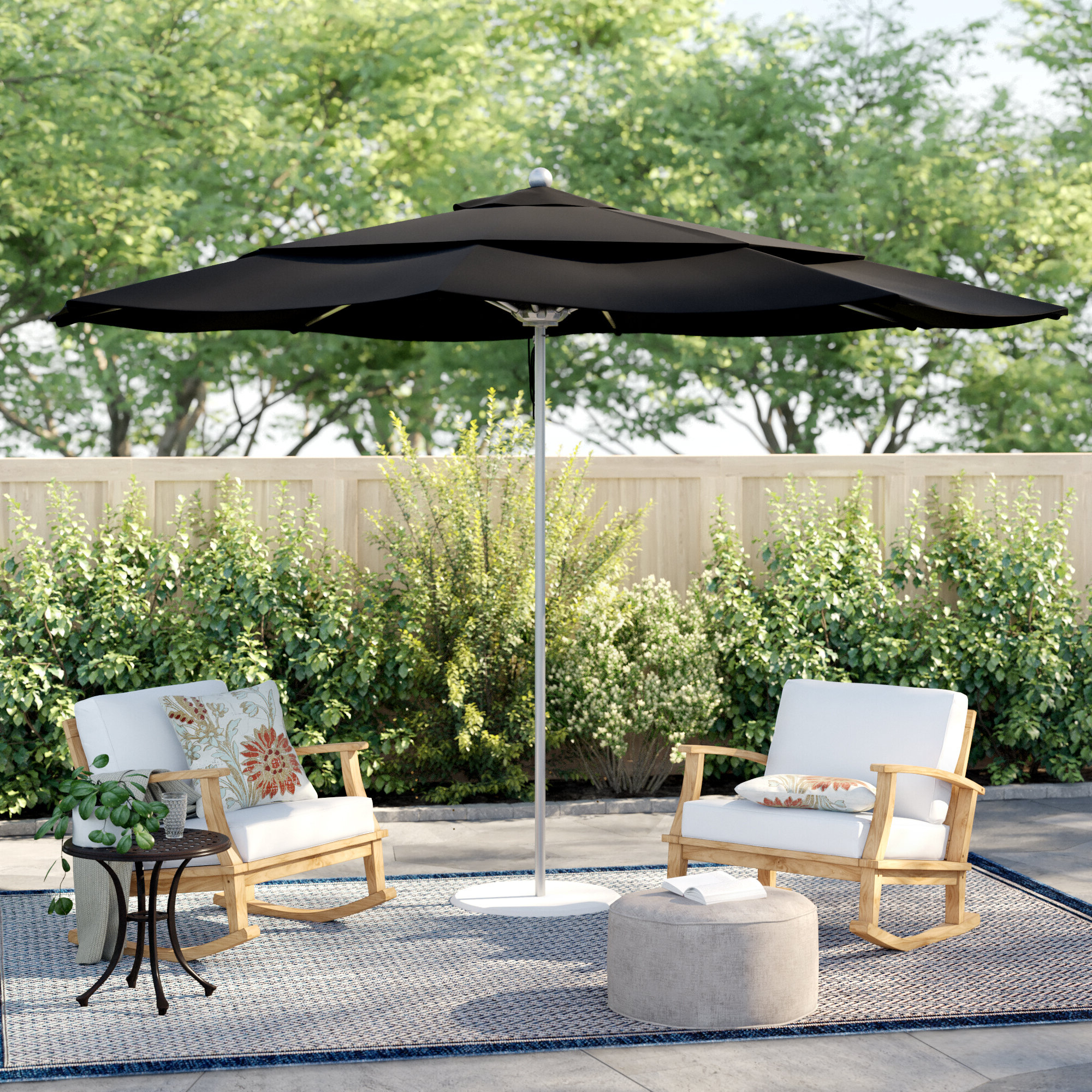 Most Recently Released Alexander Elastic Rectangular Market Sunbrella Umbrellas Regarding Caravelle 11' Market Sunbrella Umbrella (View 7 of 20)