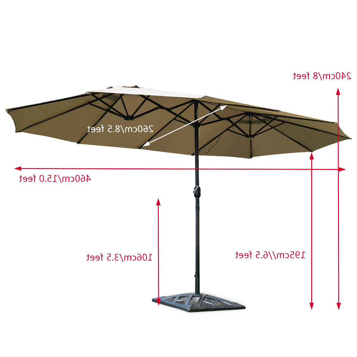 Most Recently Released Costway 15' Market Outdoor Umbrella Double Sided Twin Patio Umbrella With  Crank Beige Regarding Zadie Twin Rectangular Market Umbrellas (View 10 of 20)