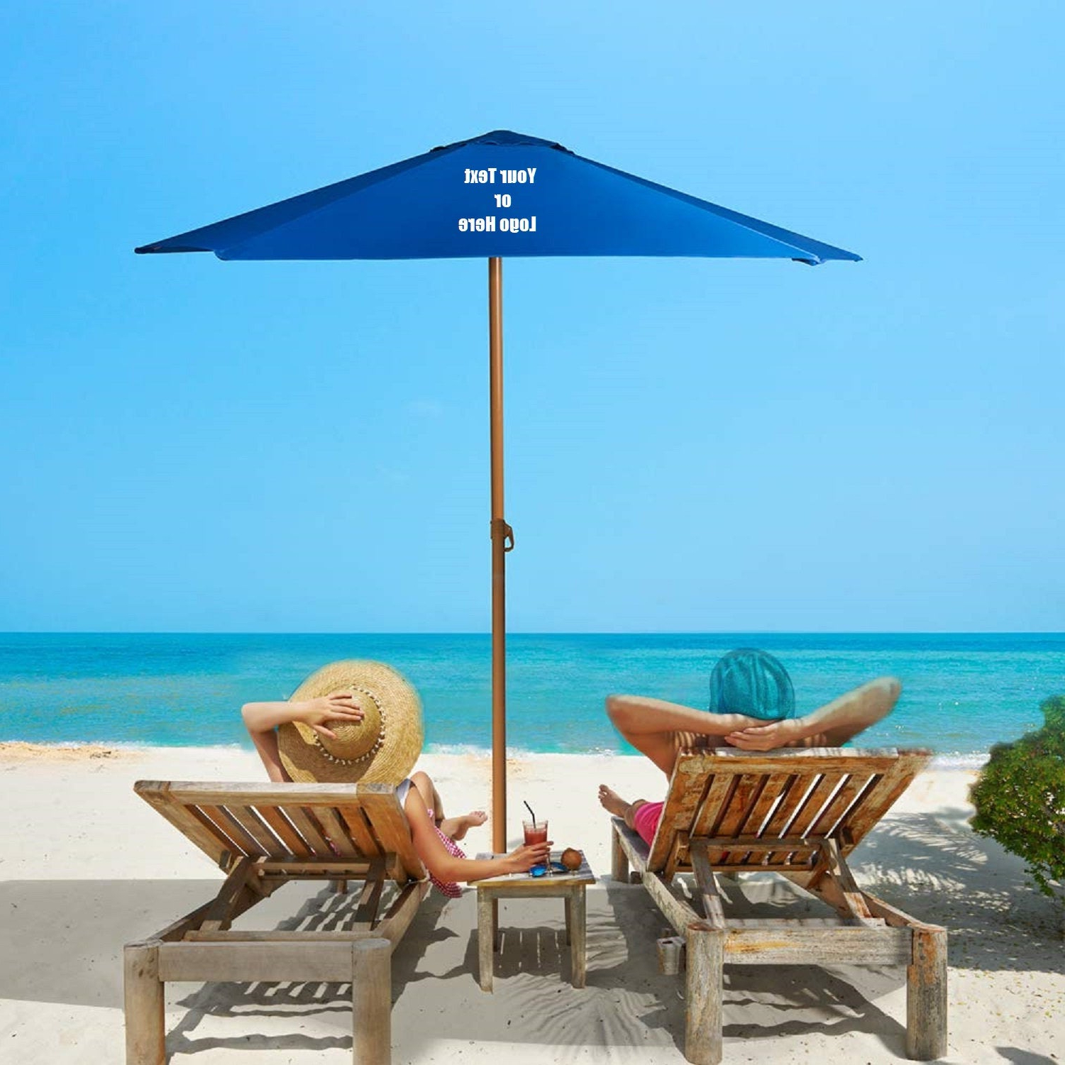 Most Recently Released Custom Personalized Sturdy 8ft Shade Vented Patio Umbrella Aluminum Poles With Polyester Canopy Portable For Beach Outdoor Uv Protection Within Bricker Market Umbrellas (View 16 of 20)