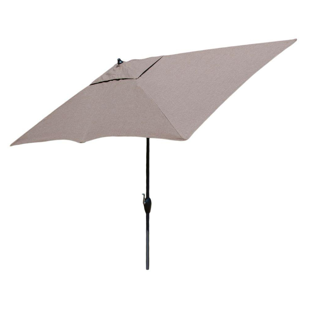Most Recently Released Hampton Bay 10 Ft. X 6 Ft. Aluminum Market Patio Umbrella In Saddle With  Push Button Tilt In Julian Market Umbrellas (Gallery 10 of 20)