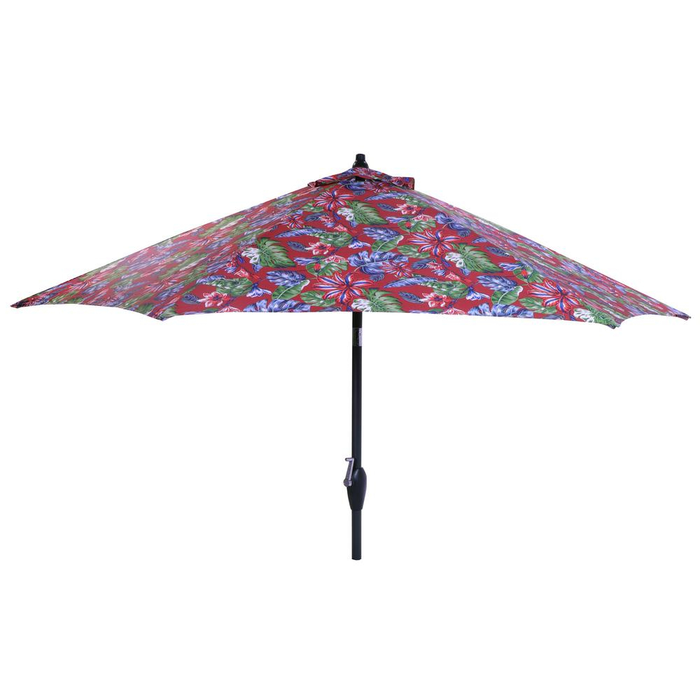 Most Recently Released Hampton Bay 9 Ft. Aluminum Market Tilt Patio Umbrella In Ruby Tropical Intended For Tropical Patio Umbrellas (Gallery 12 of 20)