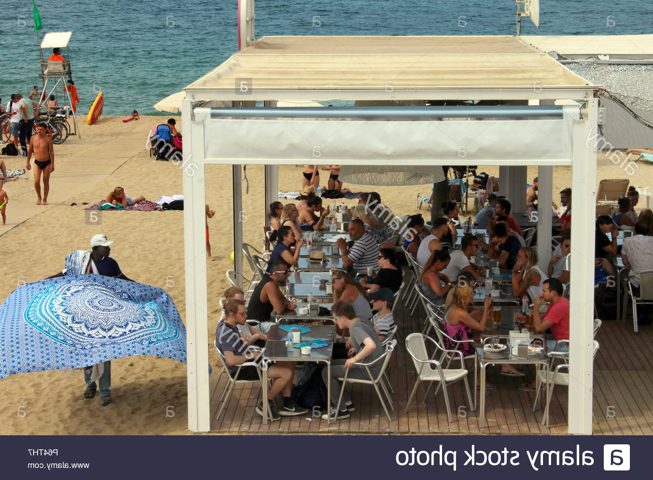 Most Recently Released Mar Bella Beach Bar Scene, Barcelona Poblenou Stock Photo: 210319459 Within Bella Beach Umbrellas (View 17 of 20)