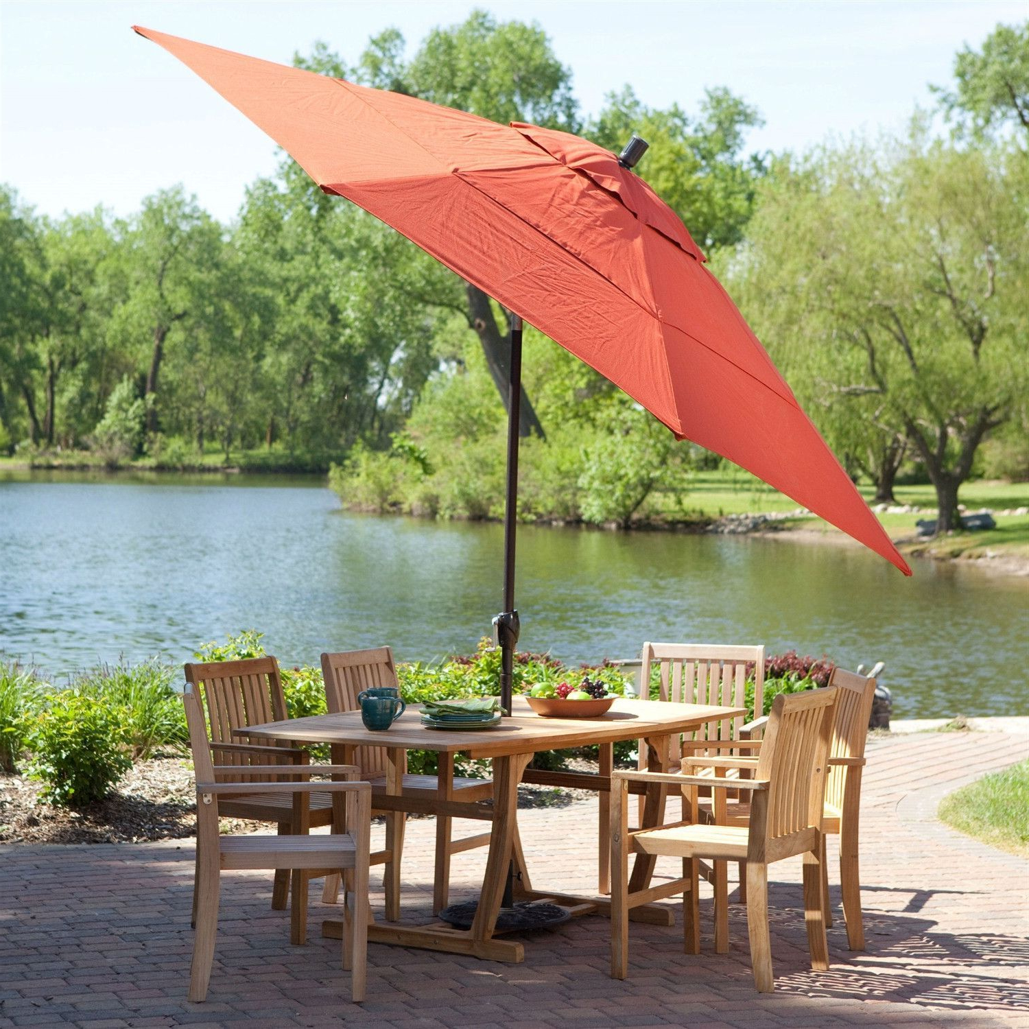 Most Recently Released Priscilla Market Umbrellas Within 11 Ft Patio Umbrella With Brick Red Canopy And Metal Pole (View 5 of 20)