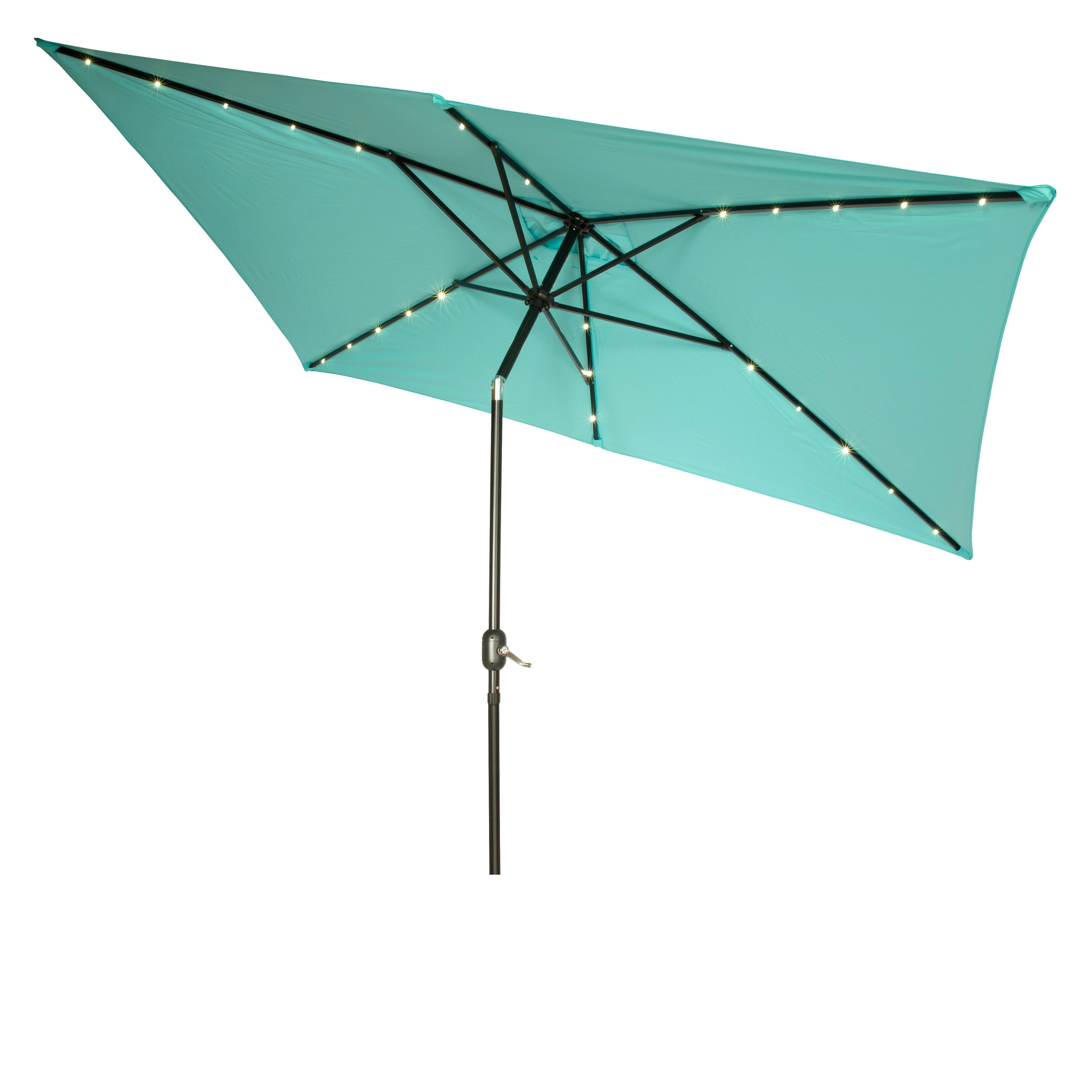 Most Recently Released Rectangular Solar Powered Led Lighted Patio Umbrella – 10' X 6.5' – Trademark Innovations Regarding Solar Powered Led Patio Umbrellas (Gallery 12 of 20)