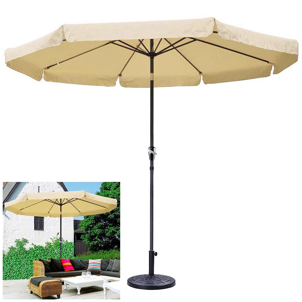 Most Recently Released Tropical Patio Umbrellas Within 10Ft Aluminum Outdoor Beige Patio Umbrella 8 Ribs W/ Valance Crank Tilt & Base Stand Deck Yard Beach (View 7 of 20)