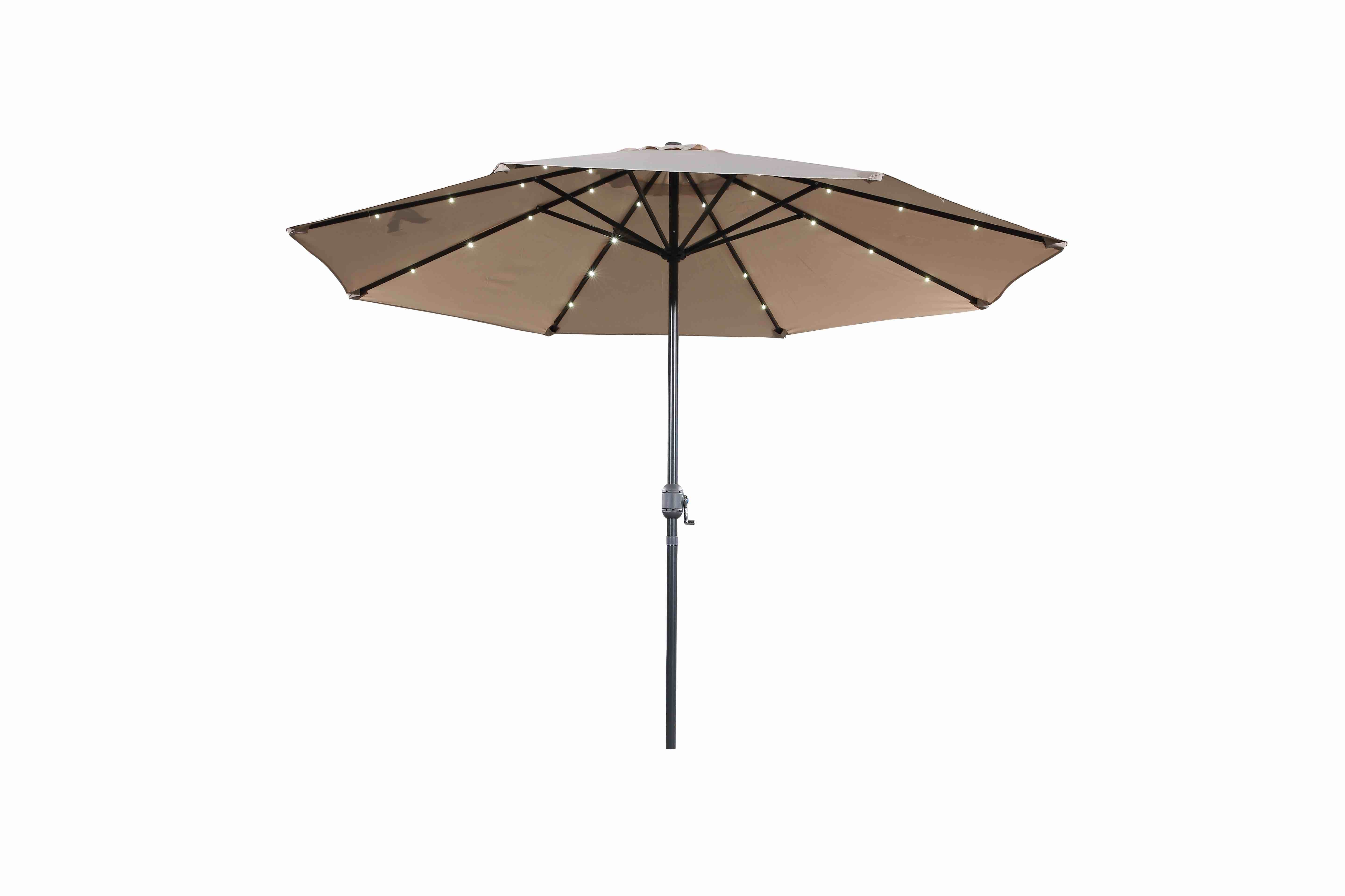 Most Up To Date 10 Ft Beige Market Umbrella – Denia Led With Regard To Solid Market Umbrellas (Gallery 16 of 20)
