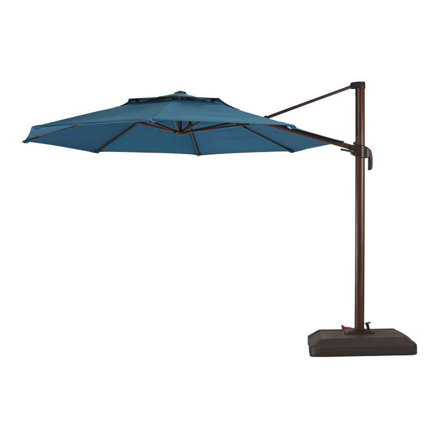 Most Up To Date Allen + Roth Aegean Blue Offset 11 Ft Push Button Round Patio With Kearney Market Umbrellas (View 11 of 20)
