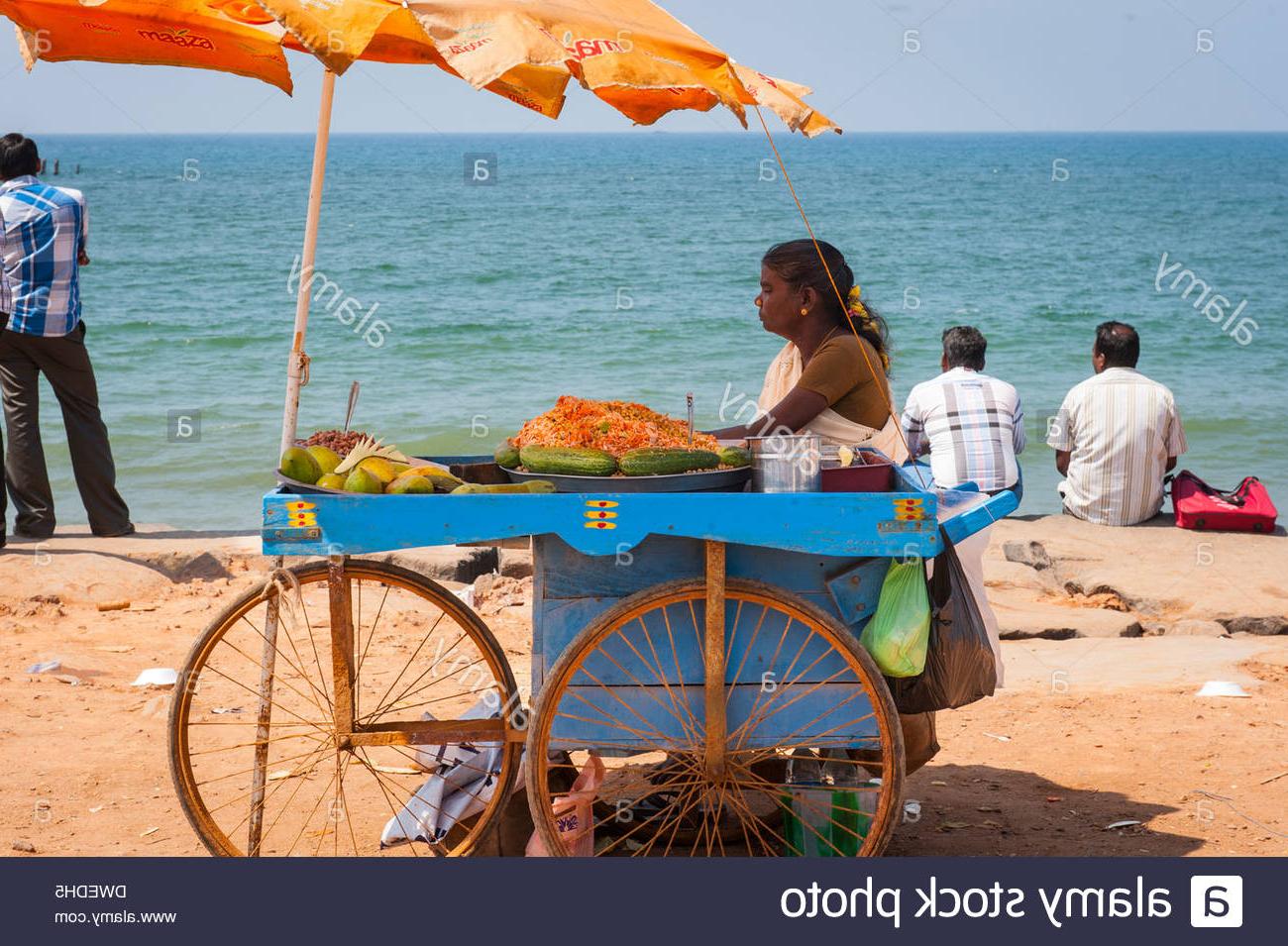 Most Up To Date Auriville Beach Umbrellas Inside India Tamil Nadu Pondicherry Puducherry Beach Sand Seaside Scene (View 3 of 20)