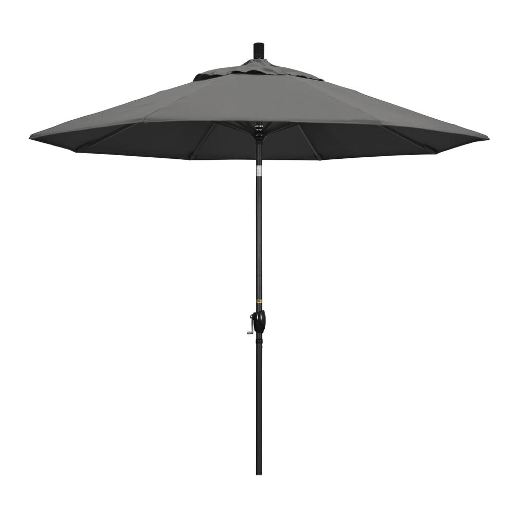 Most Up To Date Bayside Series Cantilever Umbrellas With Regard To 9' Pacific Trail Series Patio Umbrella With Stone Black Aluminum Pole  Aluminum Ribs Push Button Tilt Crank Lift With Sunbrella 1A Natural Fabric (View 14 of 20)