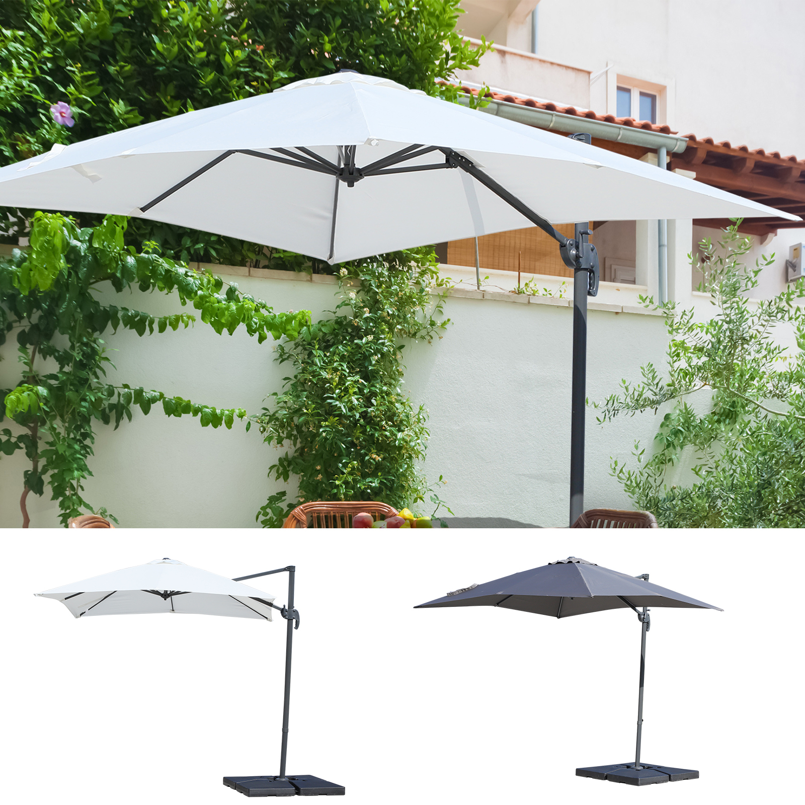 Most Up To Date Cantilever Umbrellas Regarding Details About 8'X8' Square Patio Offset Hanging Cantilever Umbrella 360°  Rotation W/ Cross (View 20 of 20)