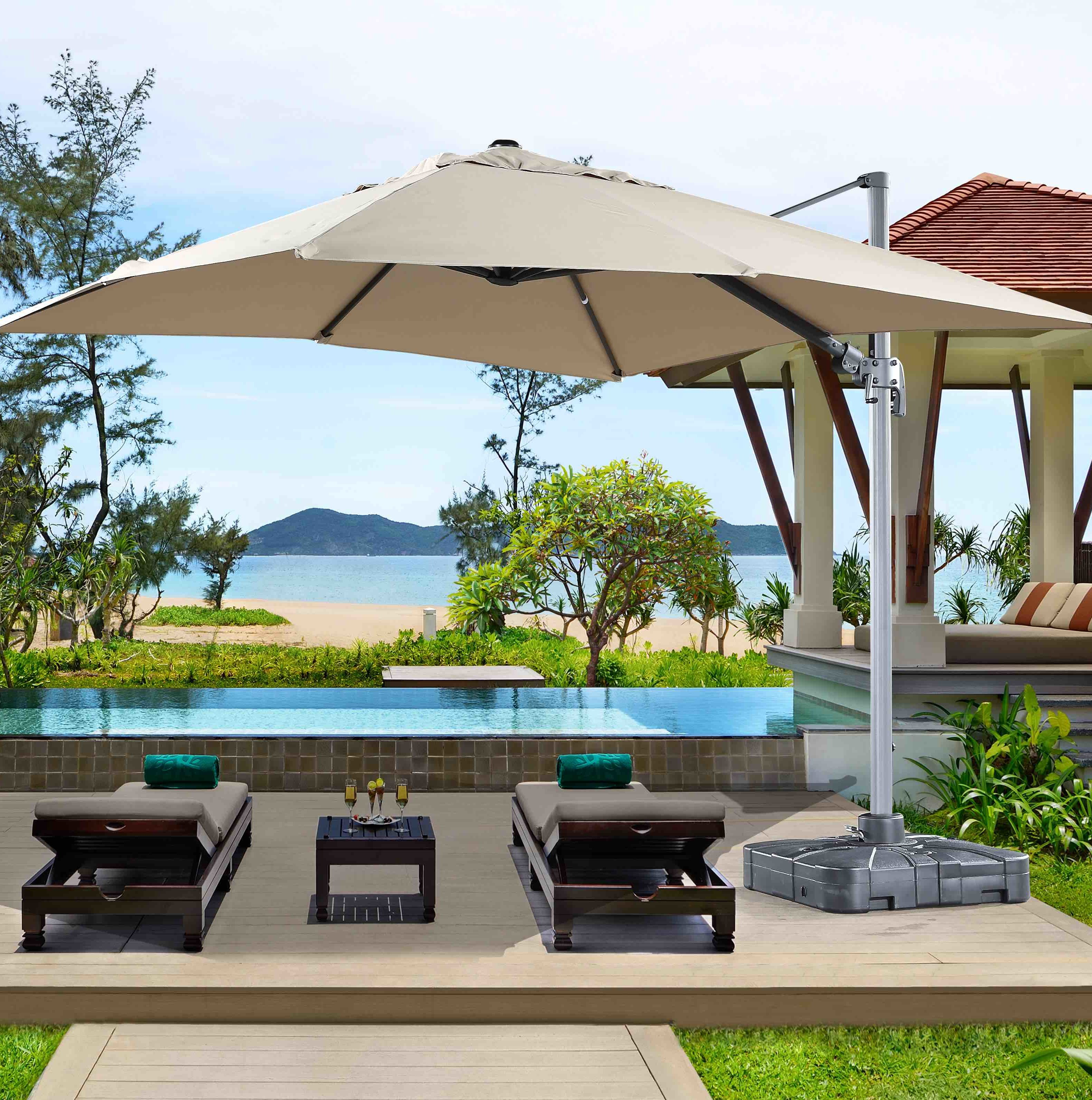 Most Up To Date Dorcheer Patio 10' Square Cantilever Umbrella With Regard To Maidste Square Cantilever Umbrellas (Gallery 11 of 20)