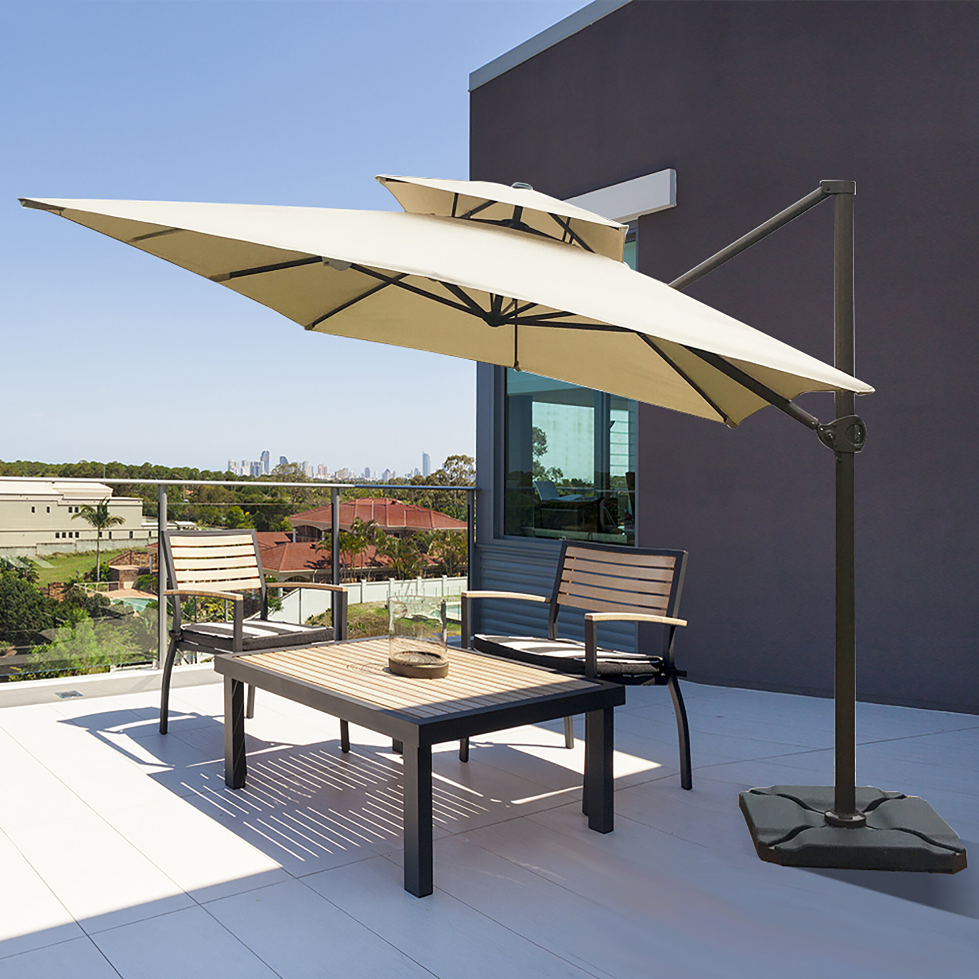 Most Up To Date Fazeley 9' X 12' Rectangular Cantilever Umbrella Pertaining To Fazeley  Rectangular Cantilever Umbrellas (Gallery 1 of 20)