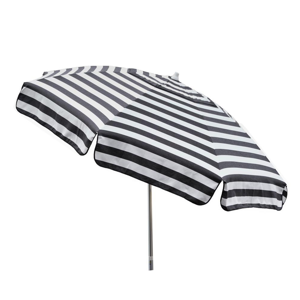 Most Up To Date Italian Drape Umbrellas Intended For Destinationgear Italian 7.5 Ft Aluminum Drape Tilt Patio Umbrella In Black  And White Acrylic (Gallery 1 of 20)