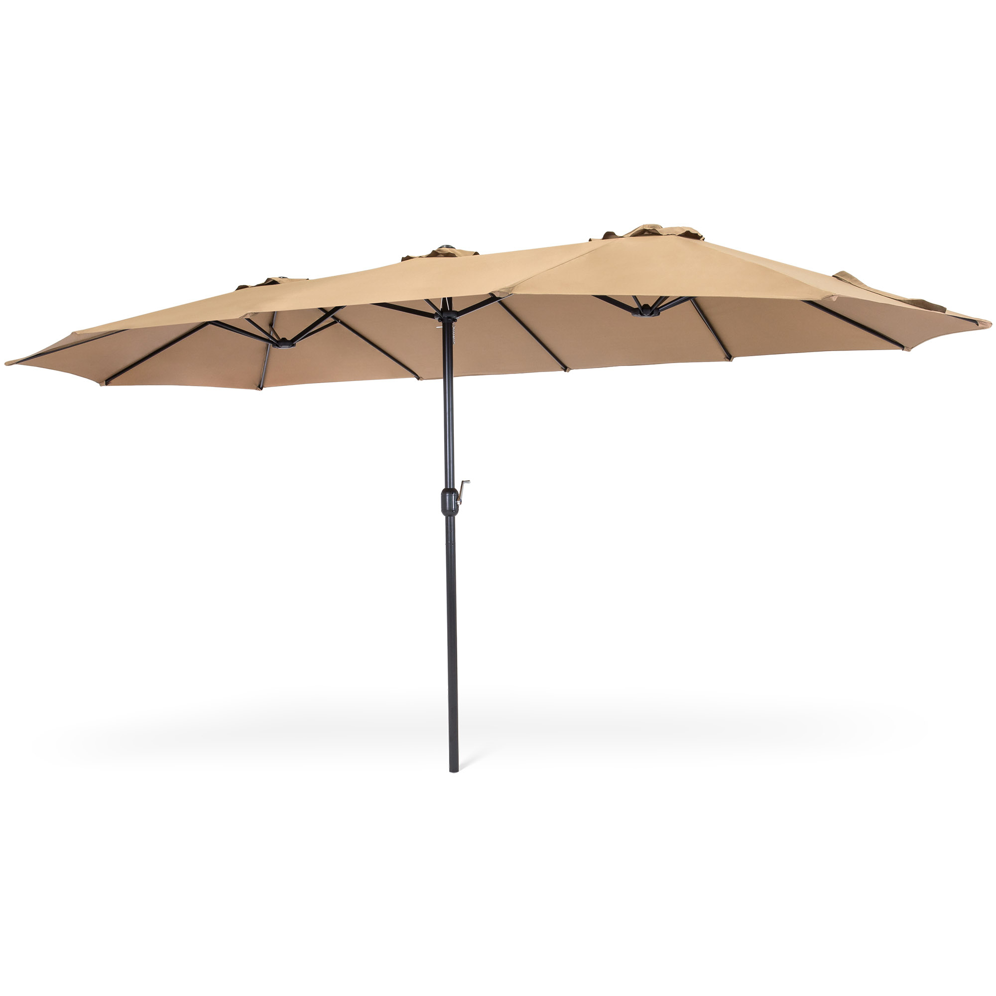 Most Up To Date Solid Rectangular Market Umbrellas With Best Choice Products 15X9Ft Large Rectangular Outdoor Aluminum Twin Patio  Market Umbrella W/ Crank, Wind Vents – Beige (View 6 of 20)