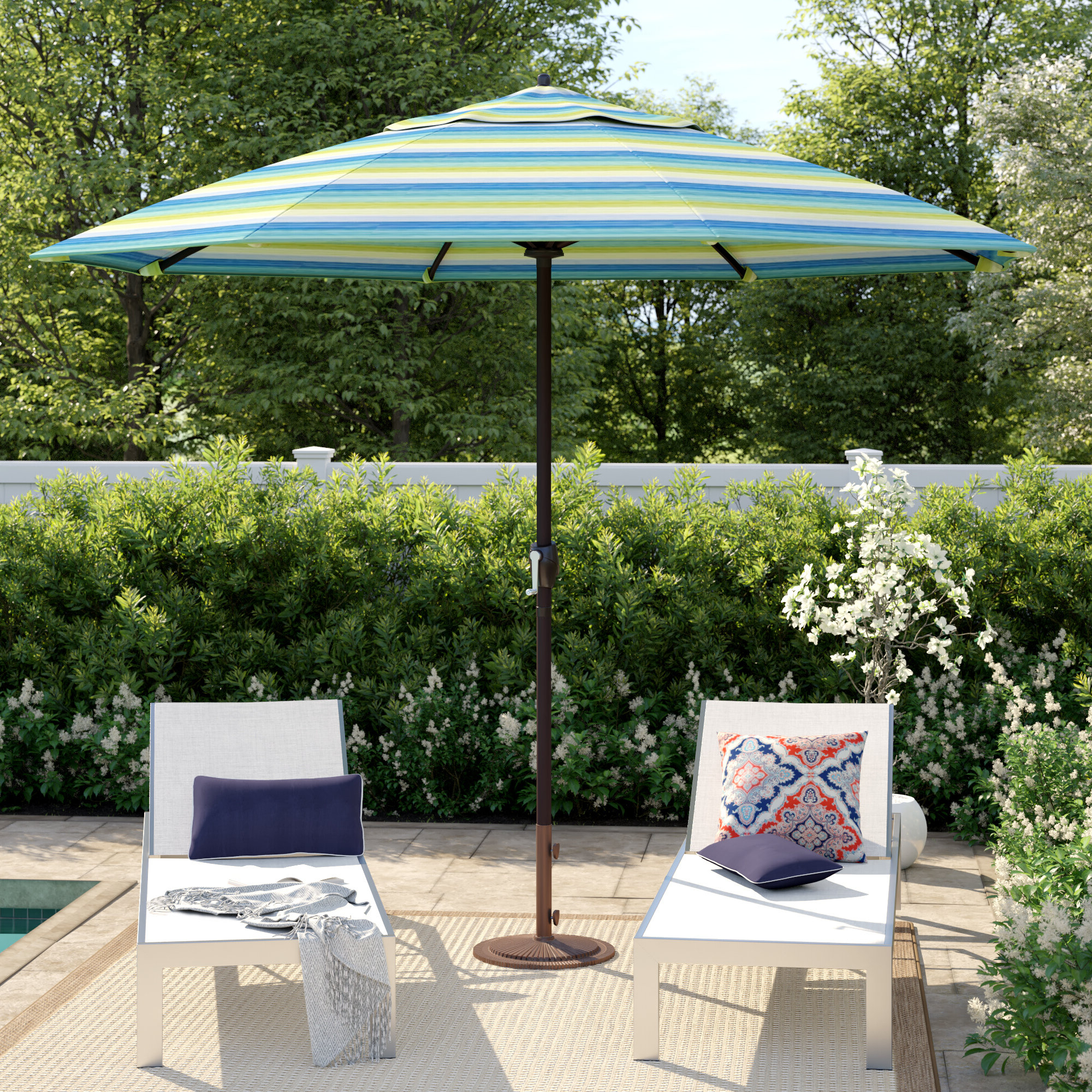 Most Up To Date Wallach Market Sunbrella Umbrellas With Regard To Cardine 9' Market Sunbrella Umbrella (View 15 of 20)