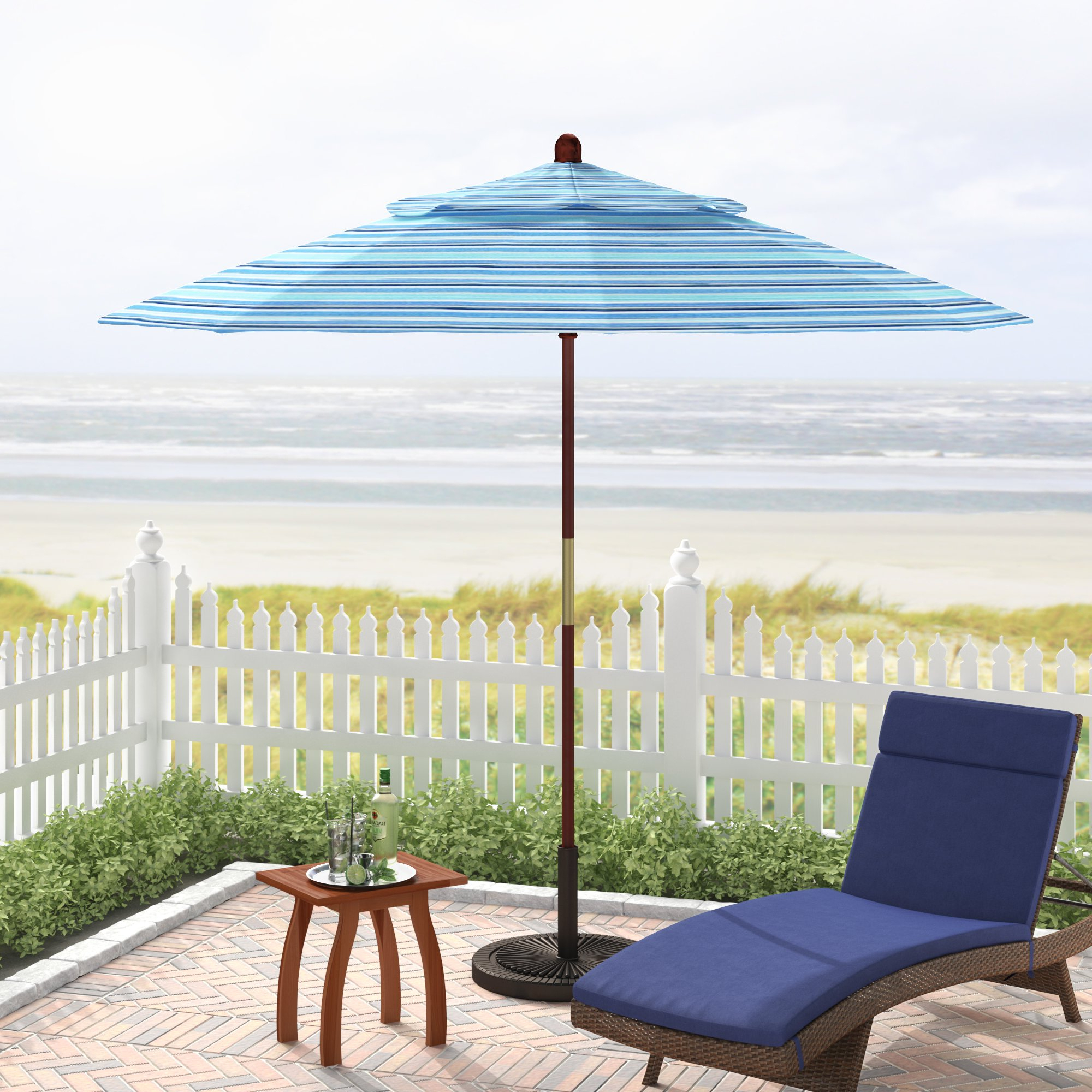 Mraz 9' Market Sunbrella Umbrella Intended For Most Recent Caravelle Market Sunbrella Umbrellas (View 17 of 20)