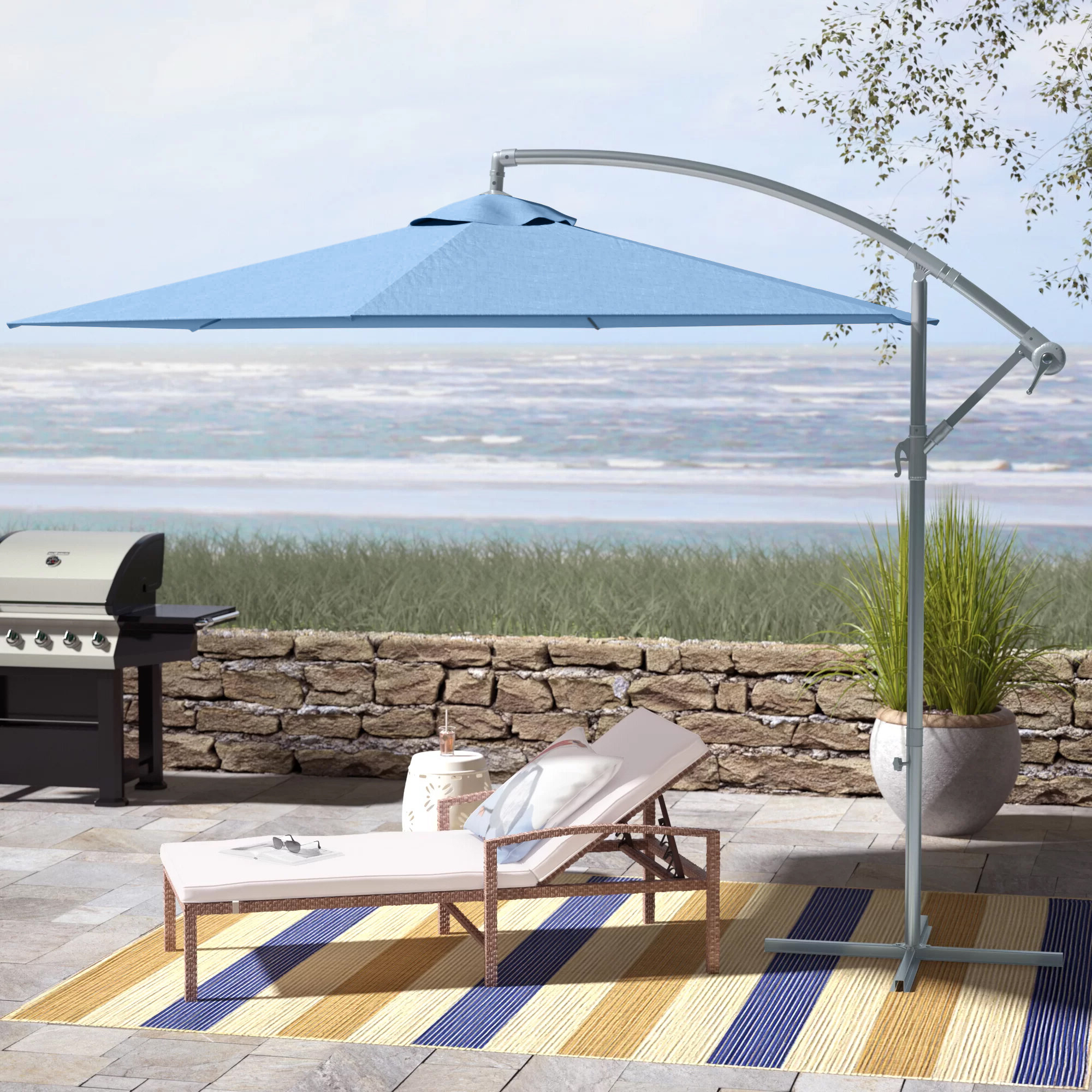Muhammad Fullerton 10' Cantilever Umbrella Regarding Widely Used Vassalboro Cantilever Umbrellas (View 13 of 20)
