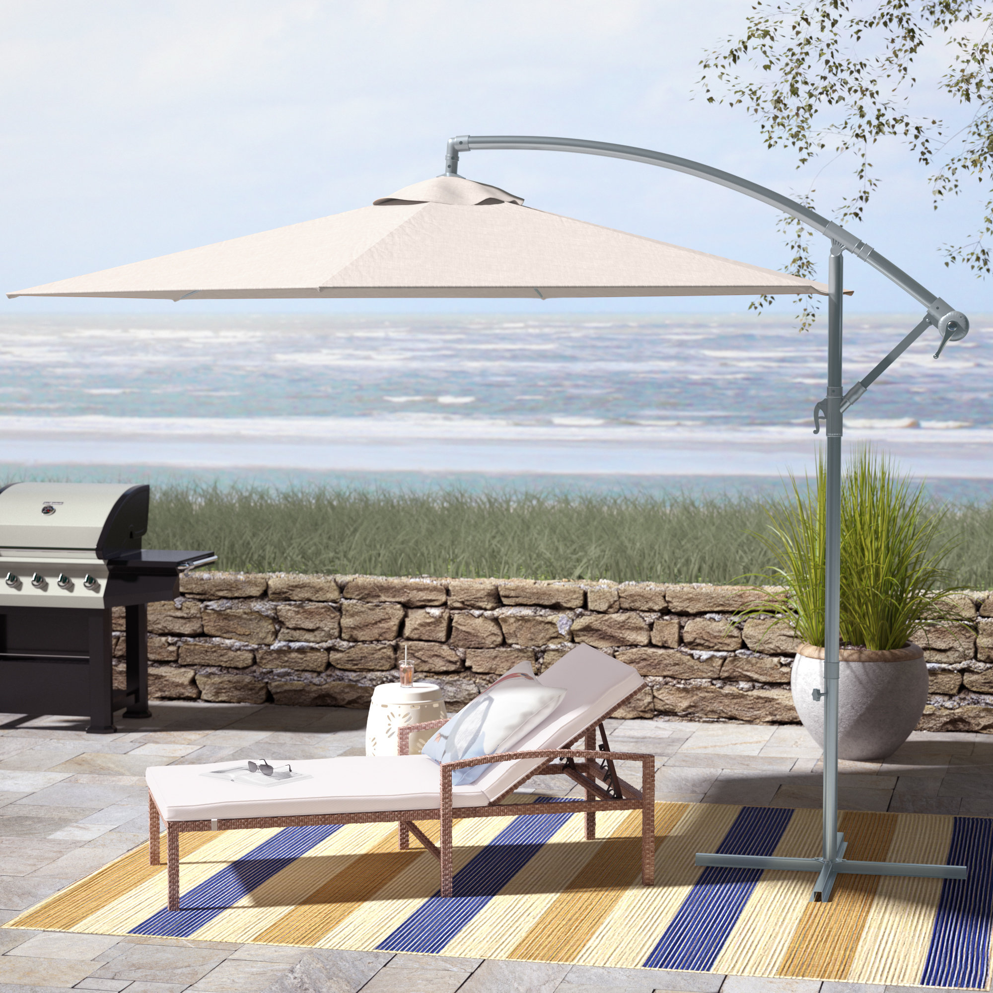 Muhammad Fullerton 10' Cantilever Umbrella Within 2020 Tallulah Sunshade Hanging Outdoor Cantilever Umbrellas (View 3 of 20)
