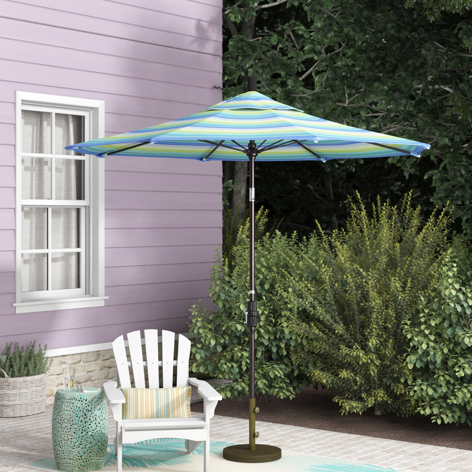 Muldoon 7.5' Market Sunbrella Umbrella Within Favorite Wiebe Auto Tilt Square Market Sunbrella Umbrellas (Gallery 11 of 20)