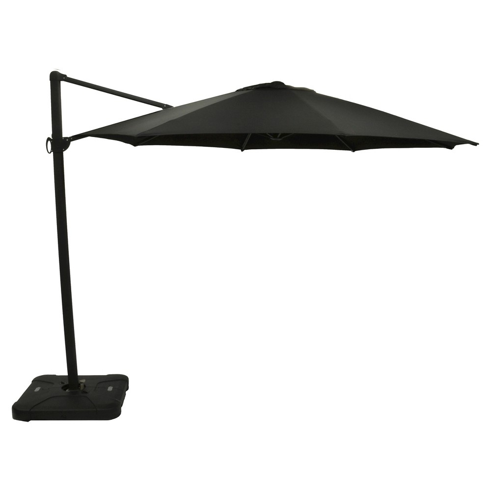 Mullaney Beachcrest Home Market Umbrellas With Regard To Widely Used 11' Offset Sunbrella Umbrella – Canvas Black – Black Pole – Smith (Gallery 13 of 20)