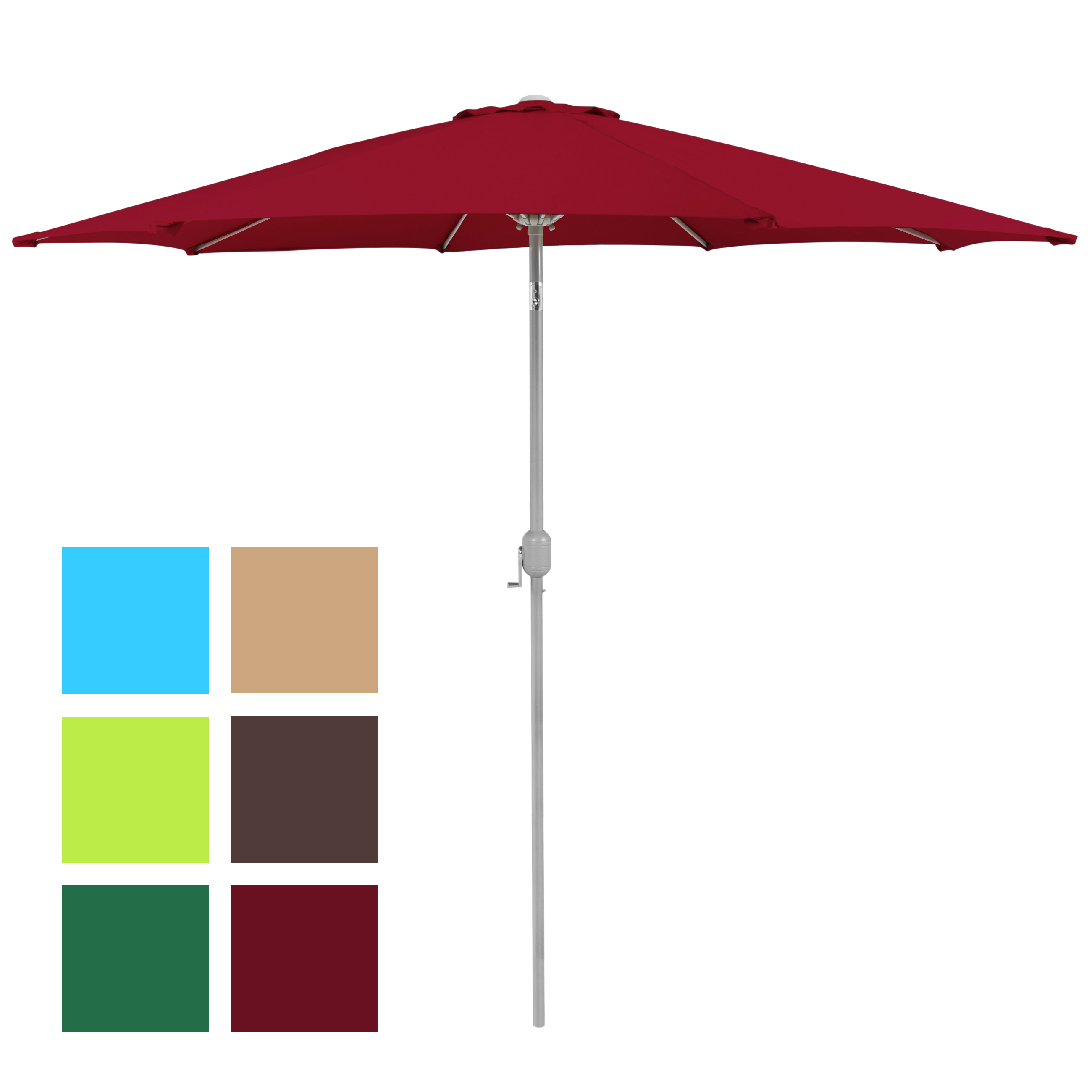 New Haven Market Umbrellas Intended For Well Liked Bcp 9' Aluminum Patio Market Umbrella Tilt W/ Crank Outdoor (View 15 of 20)