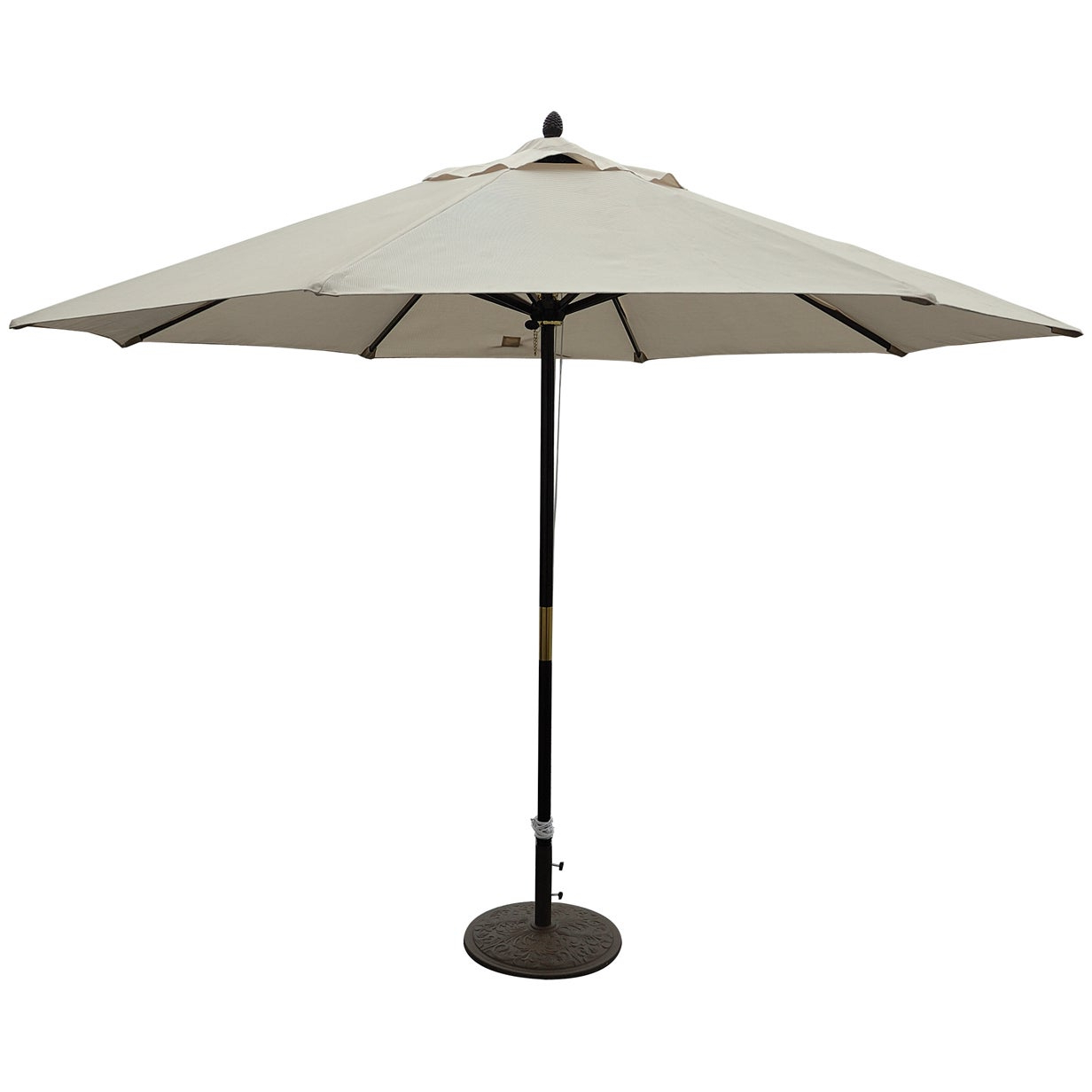 New Haven Market Umbrellas With Regard To 2020 Tropishade 11 Ft. Dark Wood Market Umbrella With Beige Olefin Cover (Gallery 8 of 20)