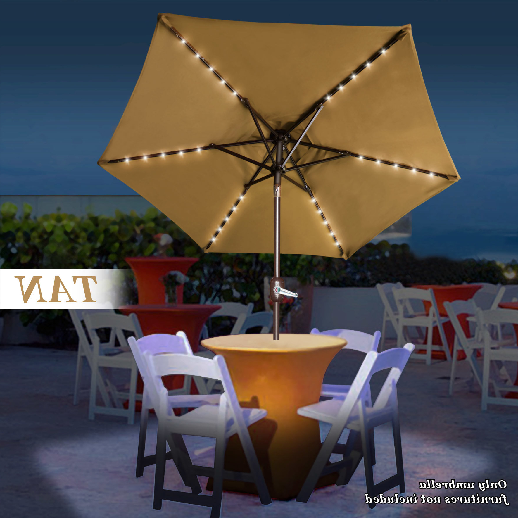 Newest Branam Lighted Umbrellas Regarding Shelstead Solar Light Patio  (View 15 of 20)